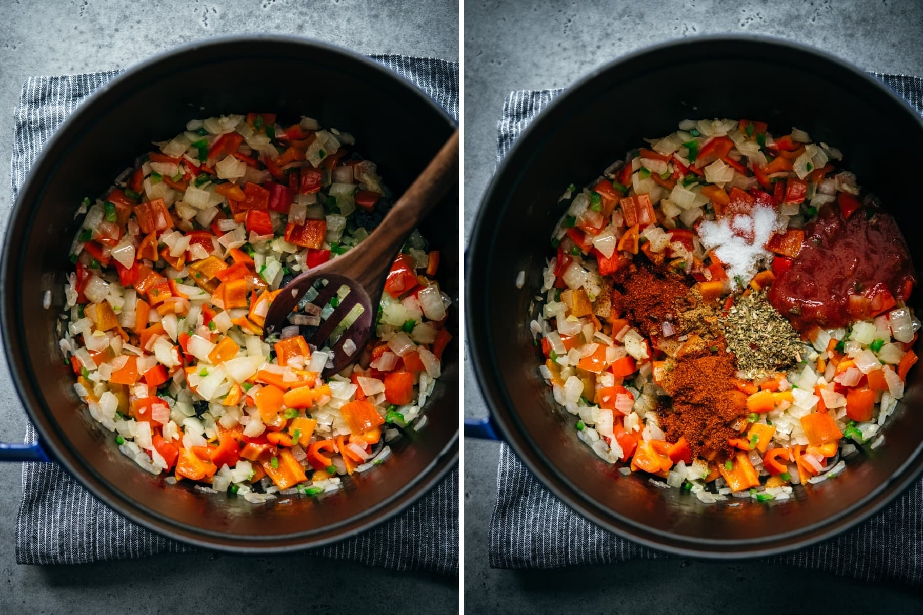 before and after adding spices to sautéed onion, jalapeno and bell pepper in large soup pot.