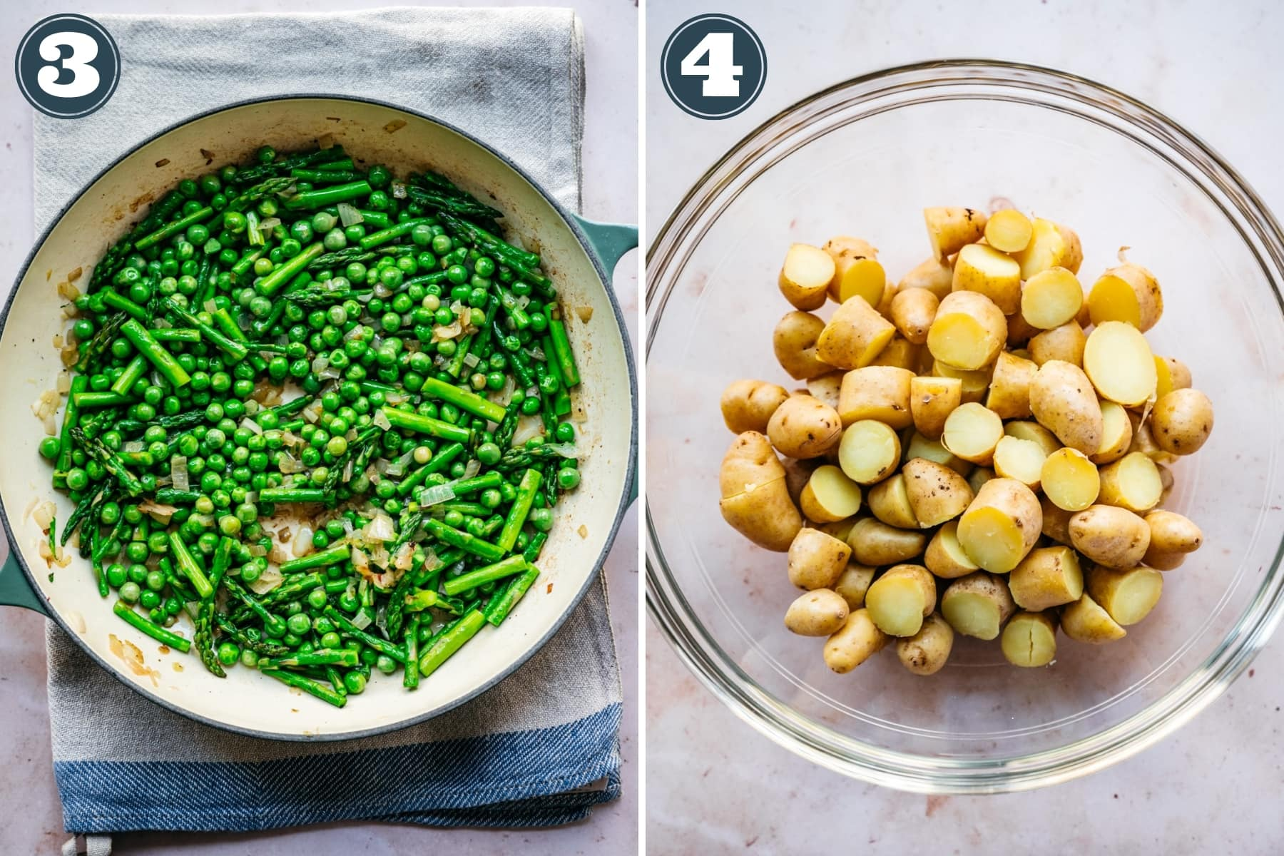 on the left: sautéed asparagus and peas in a skillet. On the right: chopped boiled fingerling potatoes in a glass bowl.
