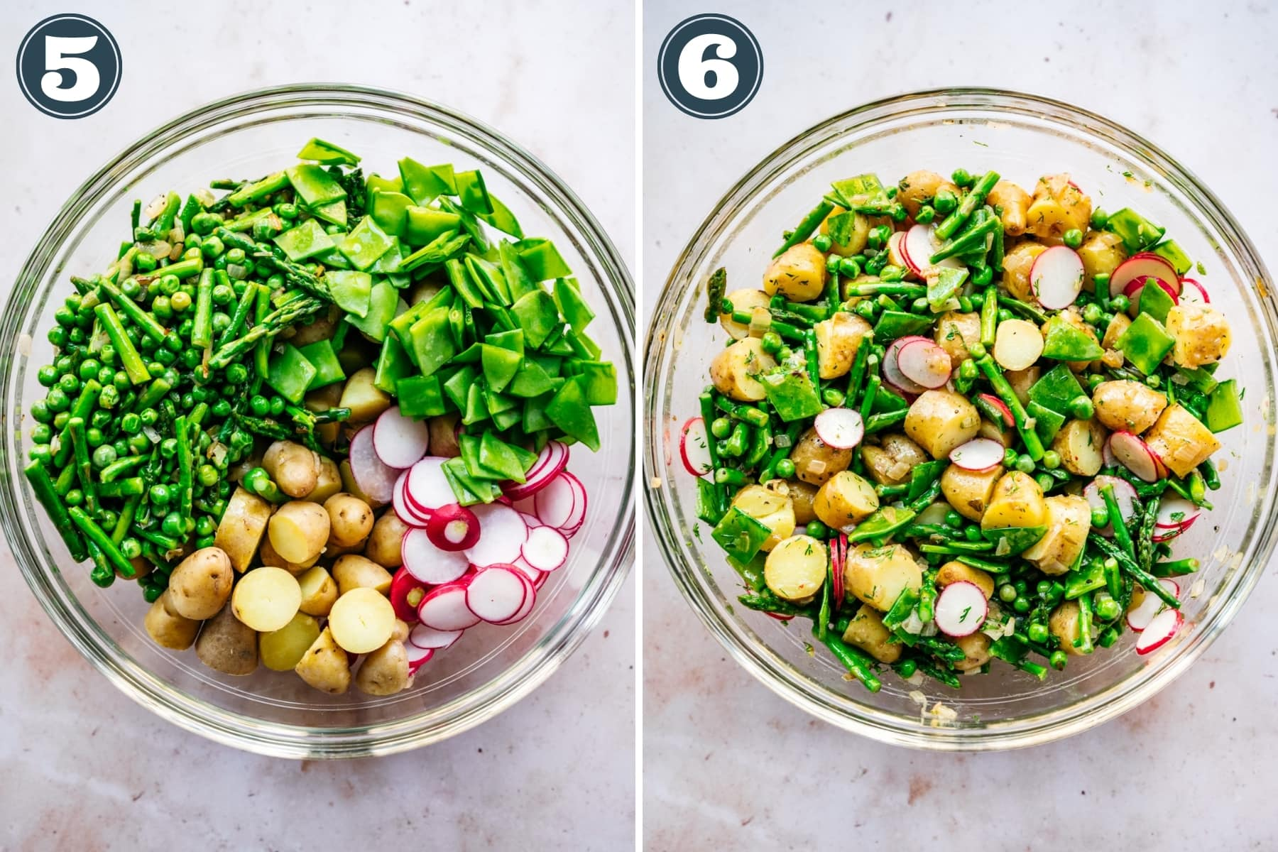 before and after mixing together ingredients for spring potato salad with asparagus, peas and radishes.