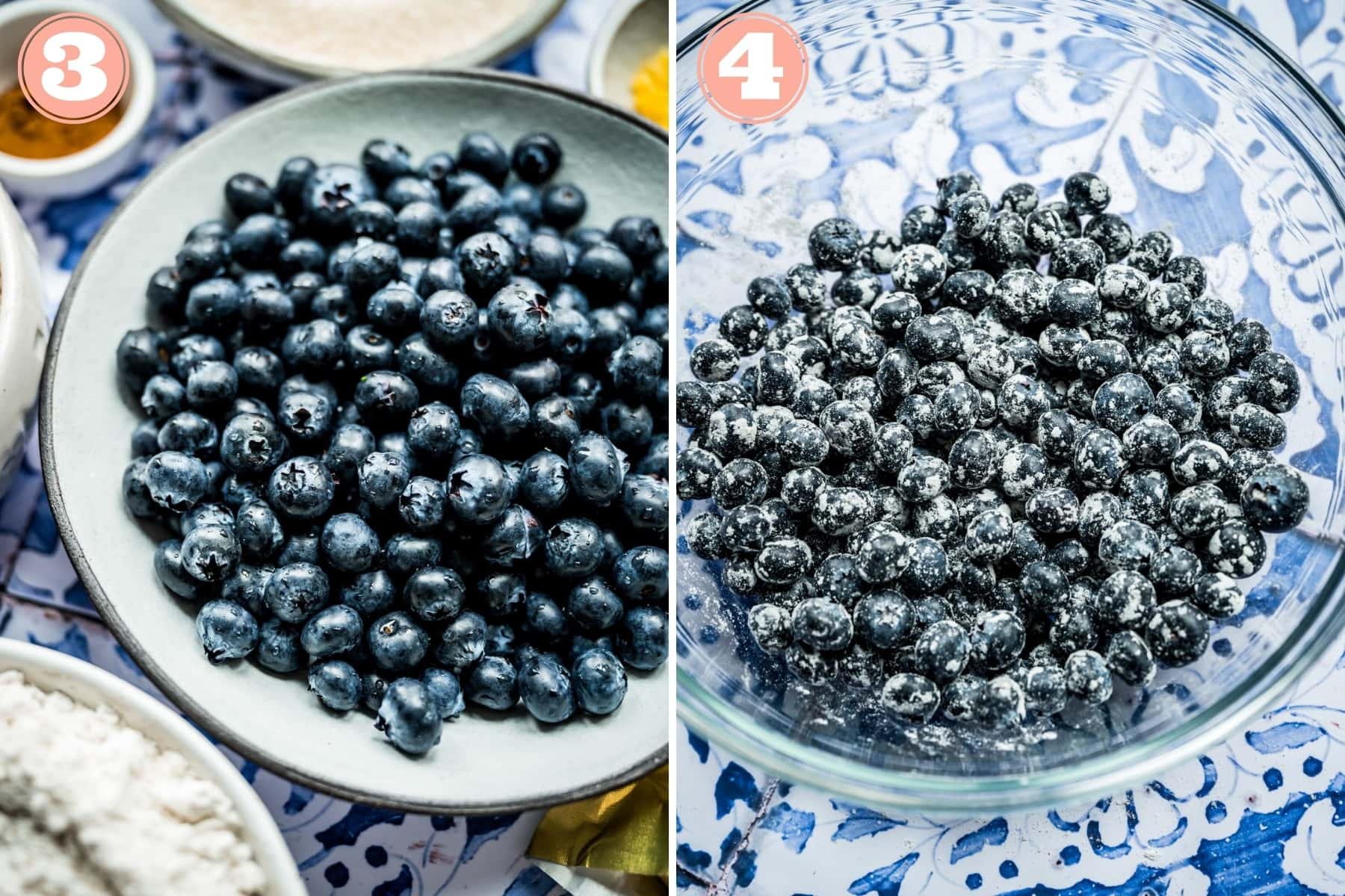before and after coating fresh blueberries in flour in a mixing bowl.