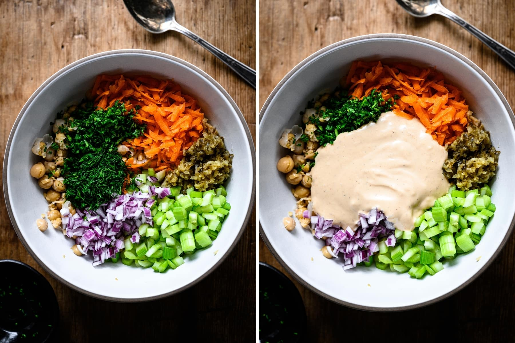 ingredients for vegan chickpea tuna salad in a large bowl before mixing together.