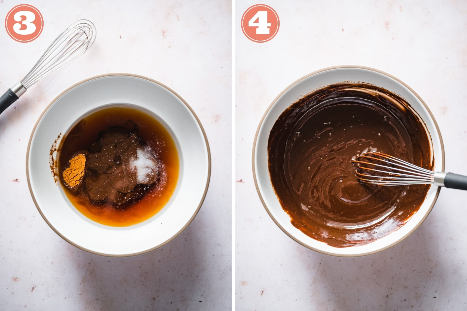 before and after stirring together wet ingredients for chocolate hazelnut granola.