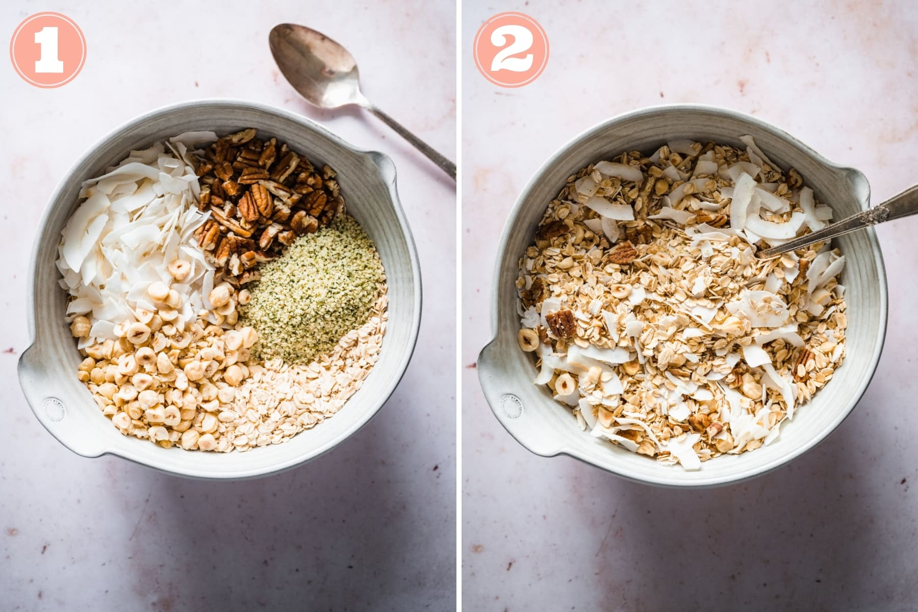 before and after stirring together dry ingredients for chocolate hazelnut granola.
