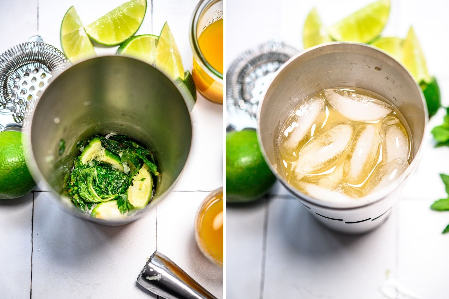 on the left side, muddled mint and limes in a cocktail shaker. on the right side, mango mojito with ice in cocktail shaker.
