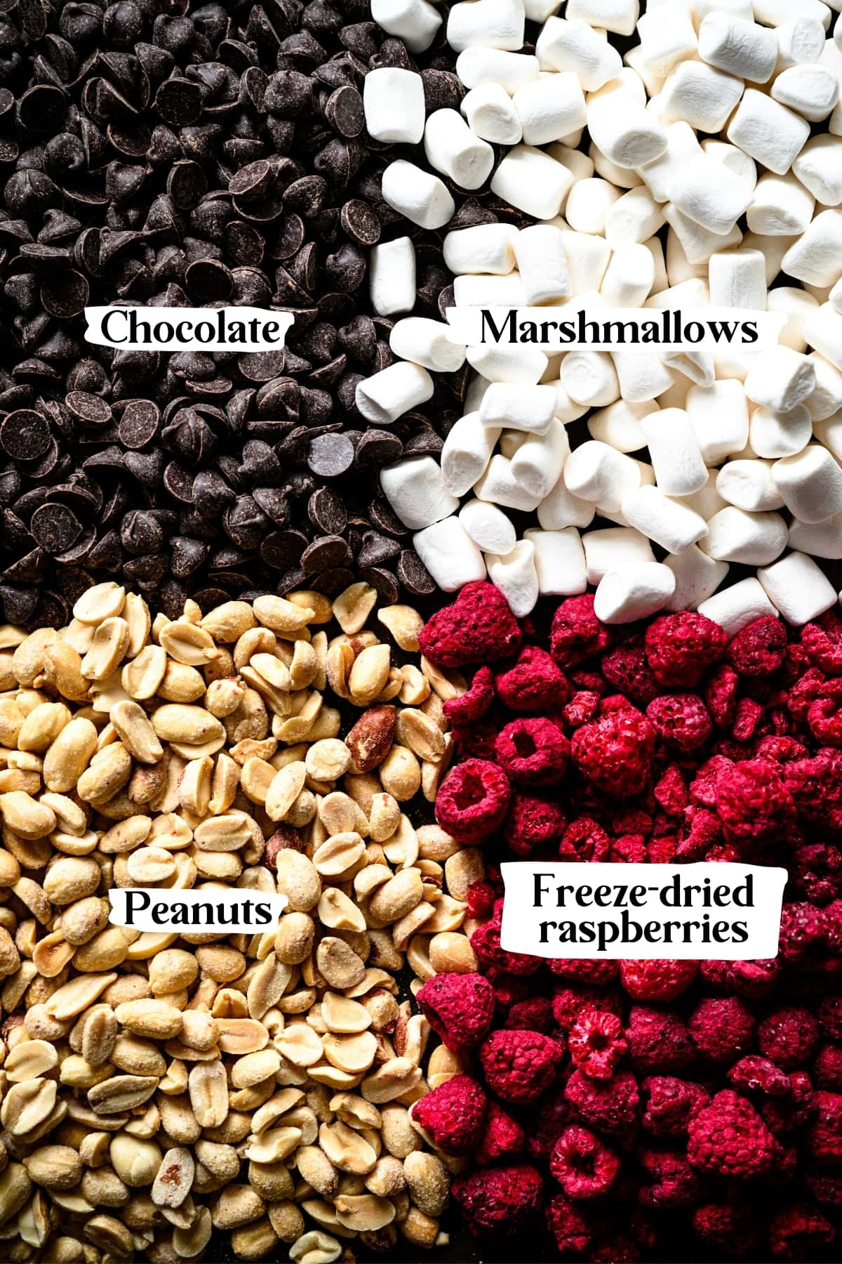 overhead view of dark chocolate chips, mini marshmallows, peanuts and freeze dried raspberries.