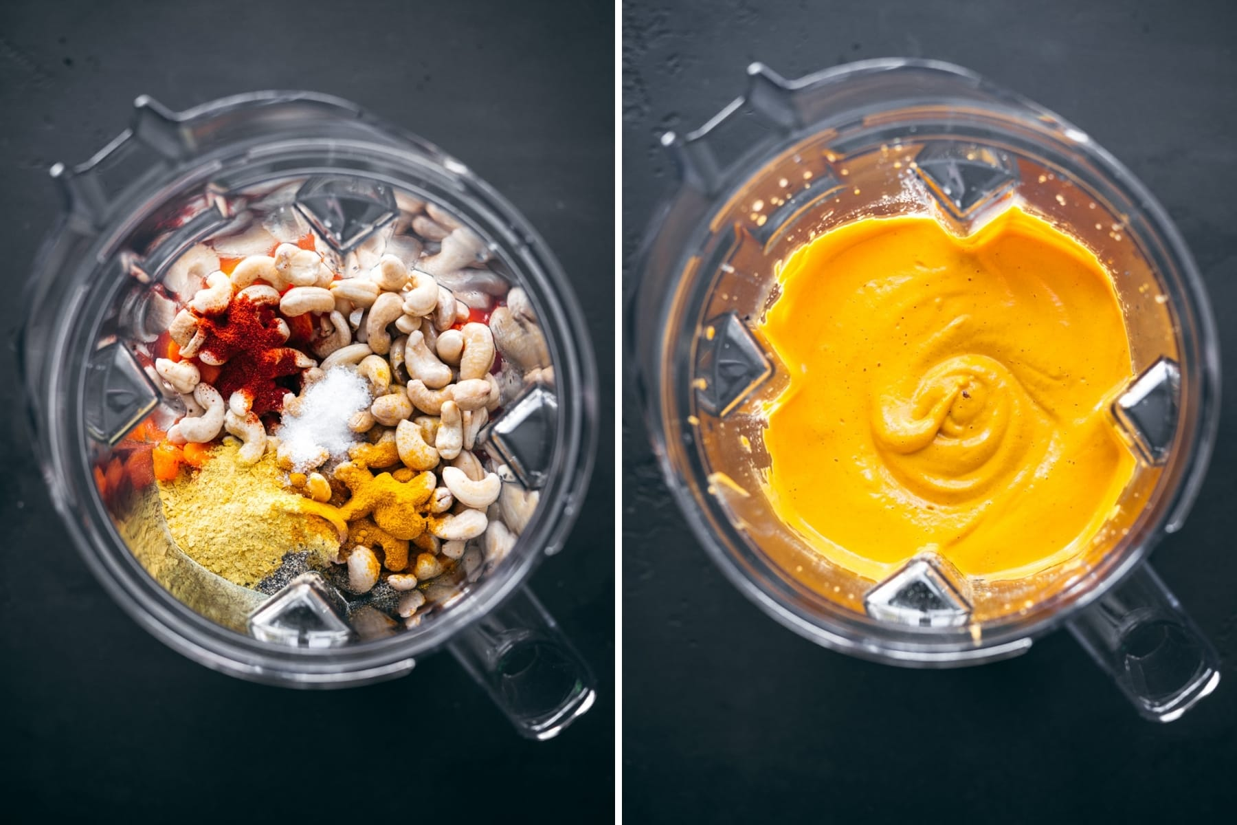 before and after blending roasted red pepper cashew cream sauce in blender.