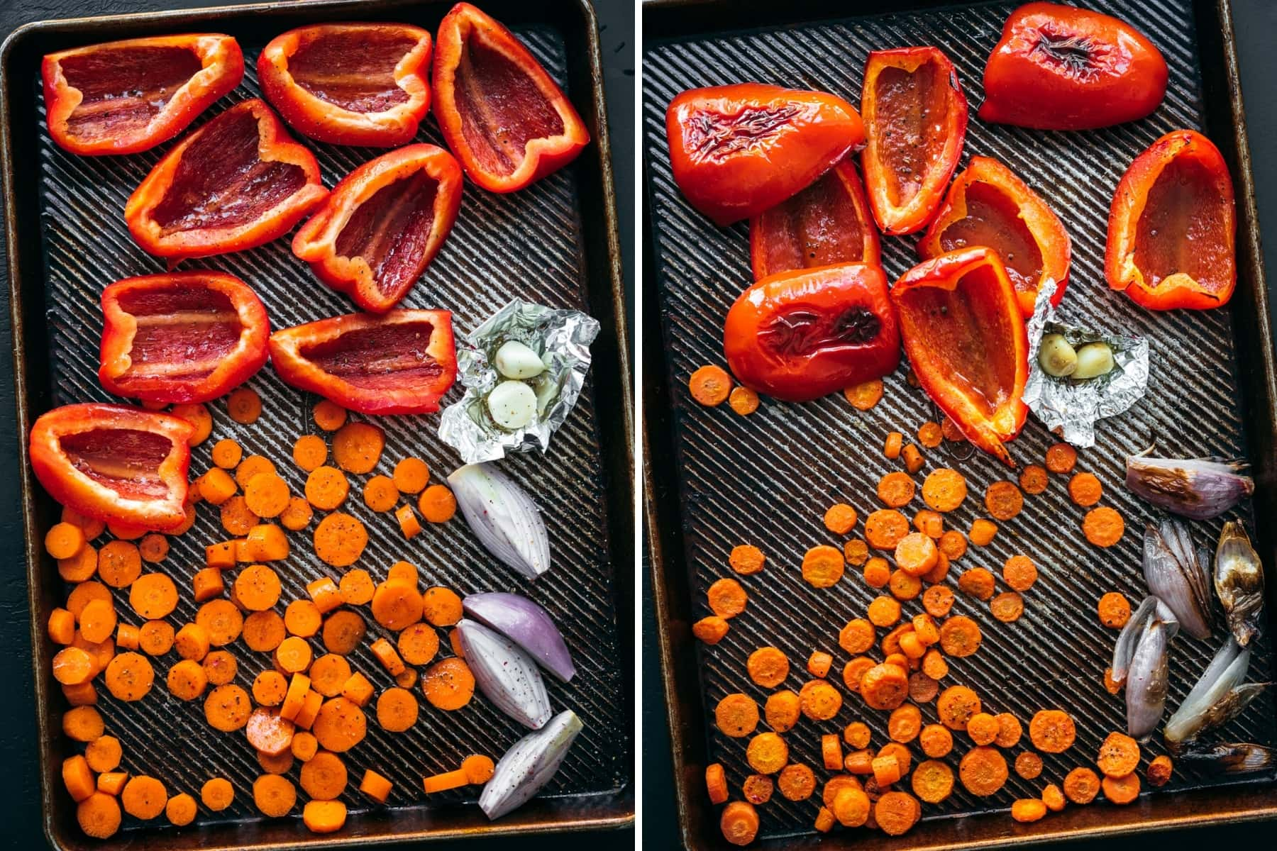 before and after roasting red peppers, carrots, shallot and garlic on sheet pan.