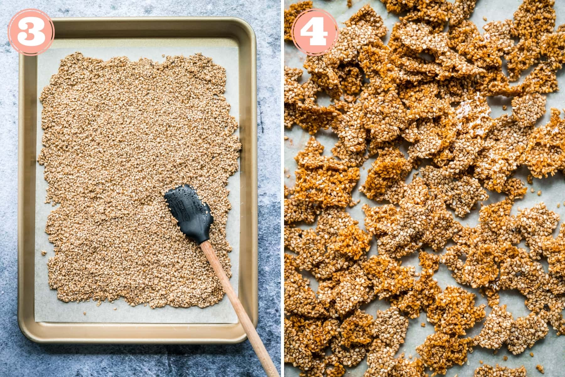 sesame brittle on a sheet pan before and after being baked.