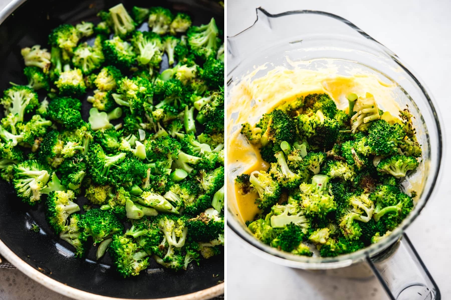 on the left: sautéed broccoli in pan. on the right: broccoli in blender with soup.