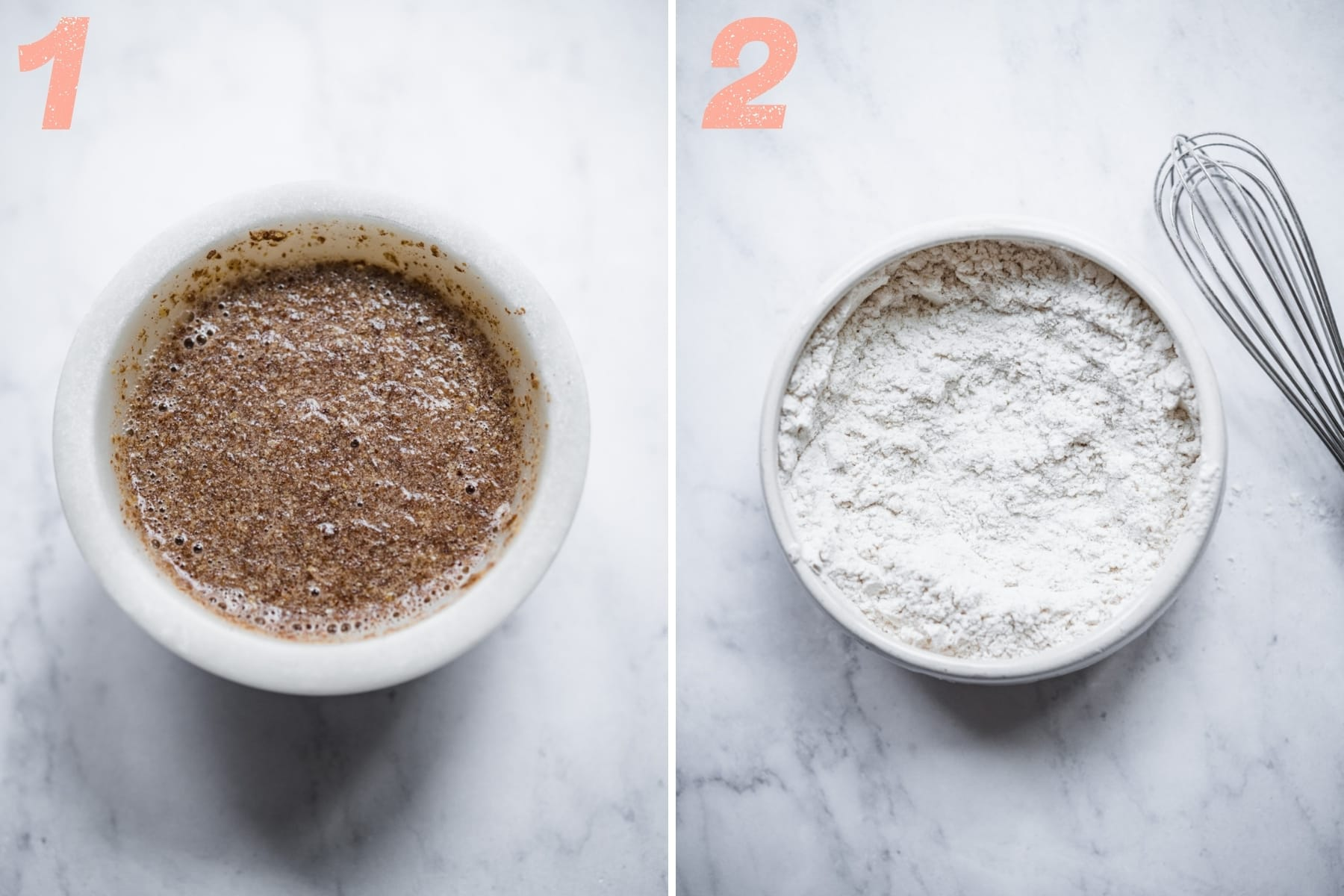 on the left: flax egg in a small bowl. on the right: flour, baking soda and salt mixed together in bowl.