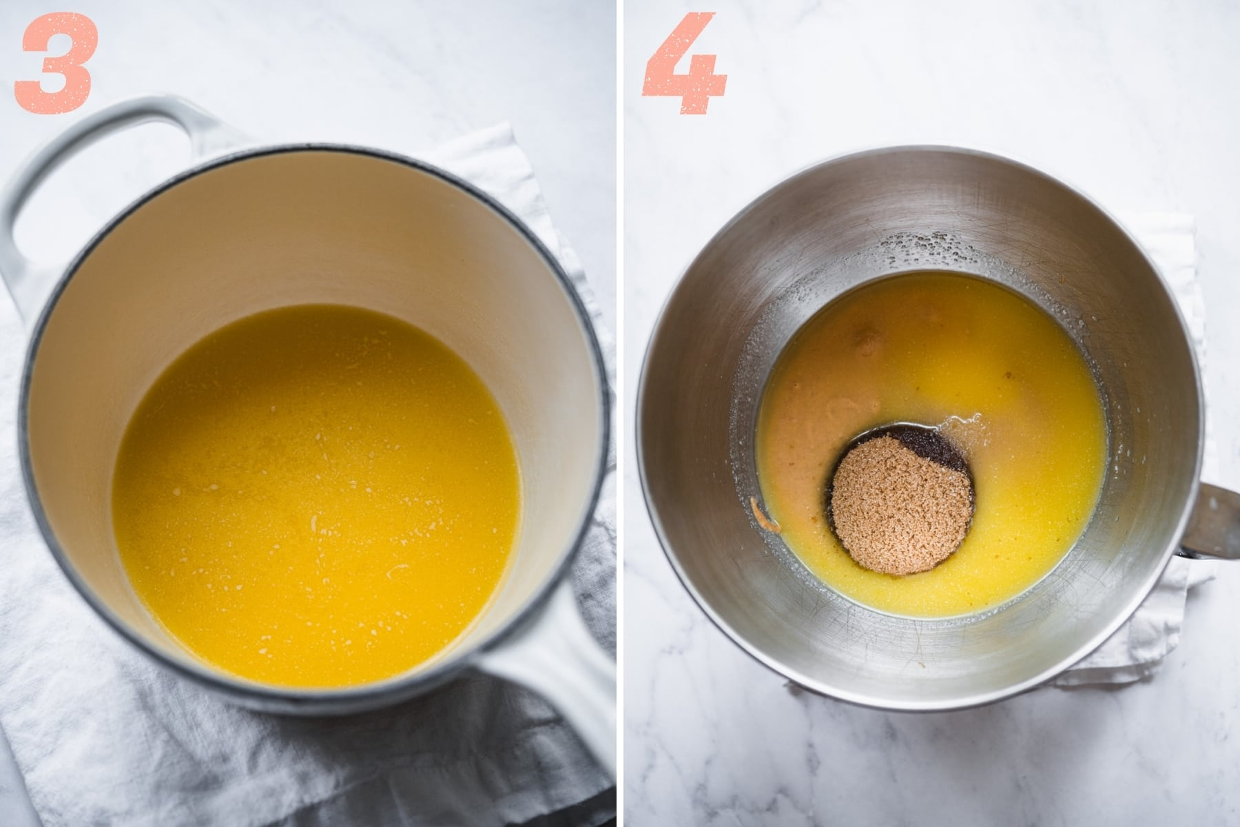 on the left: melted butter in a saucepan. on the right: melted butter, peanut butter and brown sugar in a stand mixer.