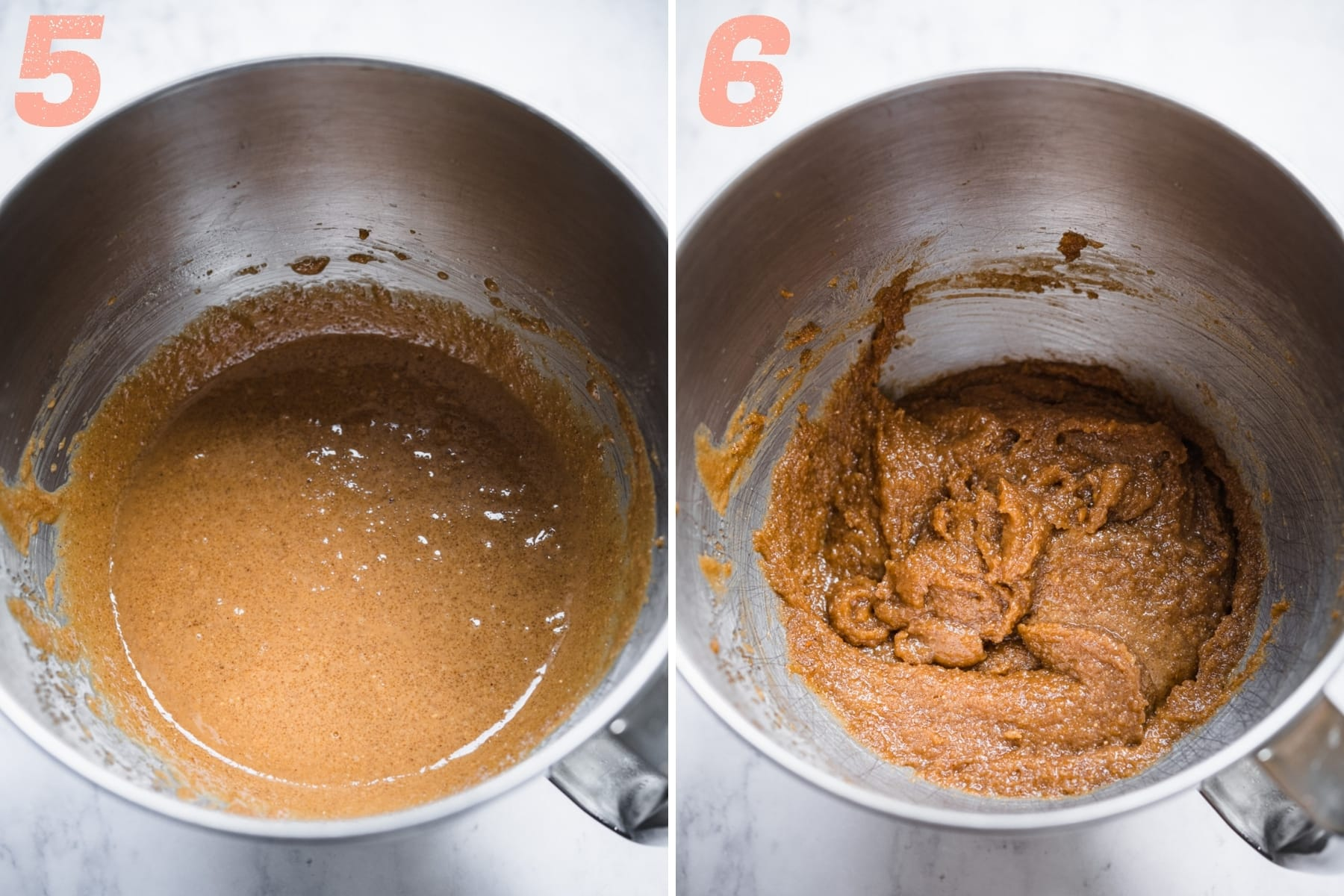 before and after adding flax eggs to peanut butter cookie dough.
