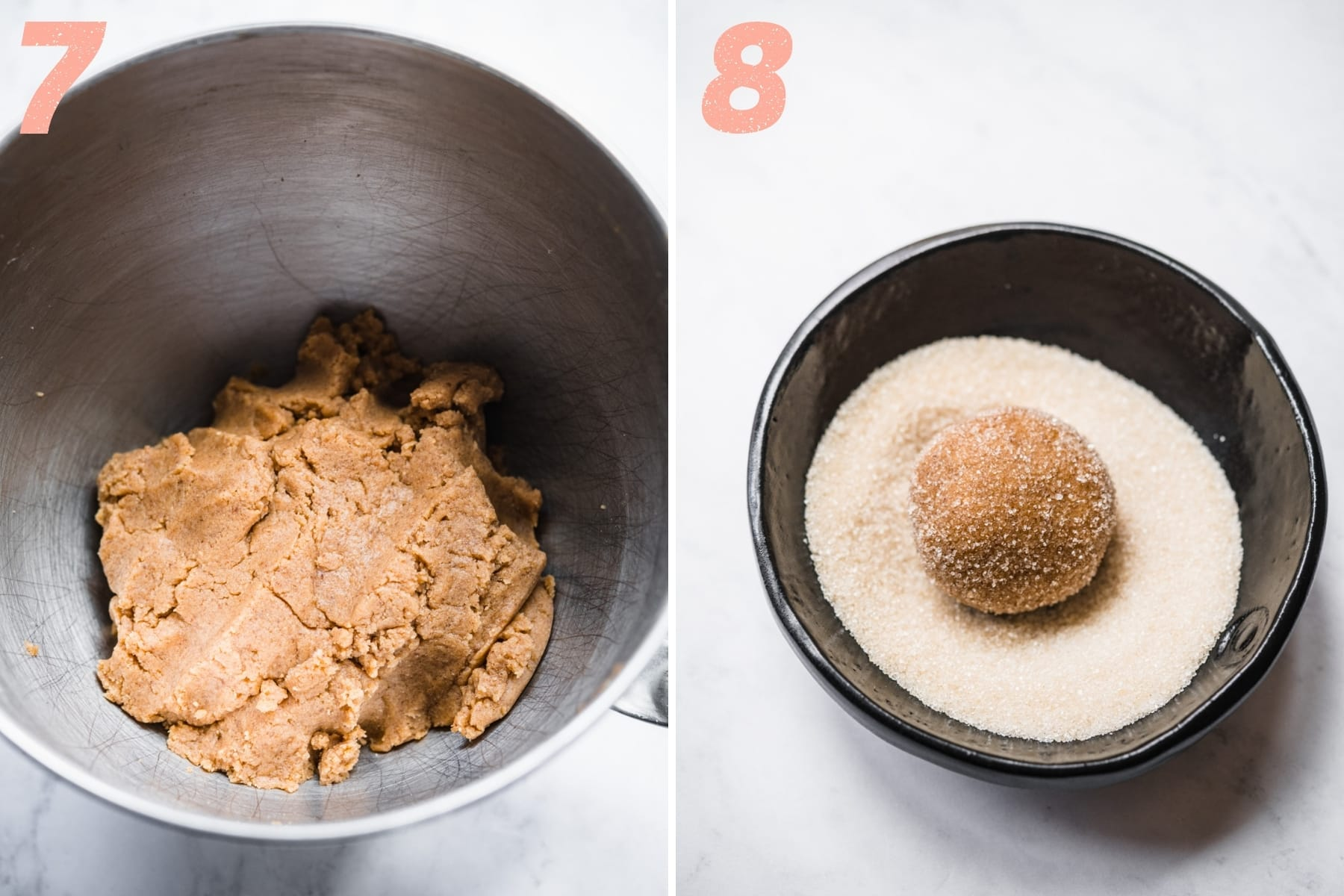 on the left: vegan peanut butter cookie dough in mixing bowl. On the right: peanut butter cookie dough ball coated in sugar before baking.
