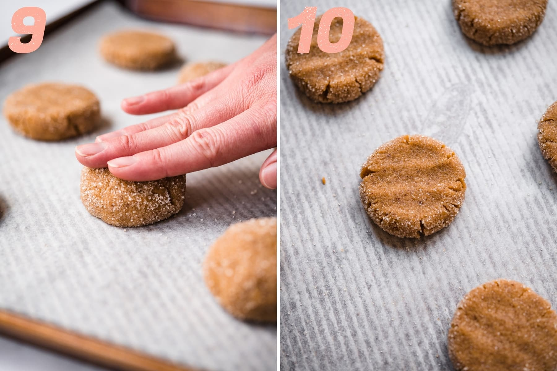 on the left: hand pressing down cookie dough ball. On the right: cookie dough before baking.