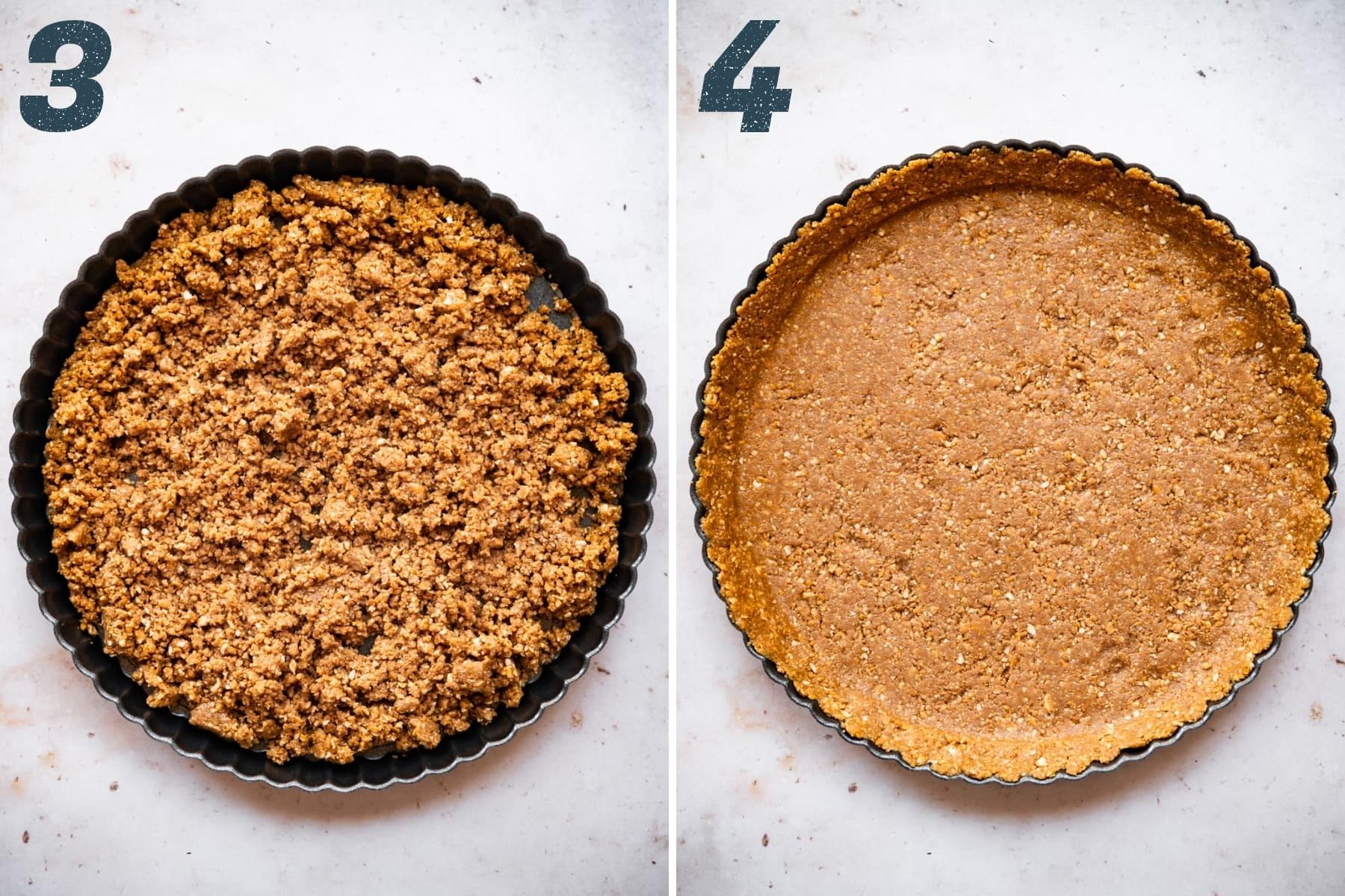 pressing peanut butter pretzel crust into tart pan.