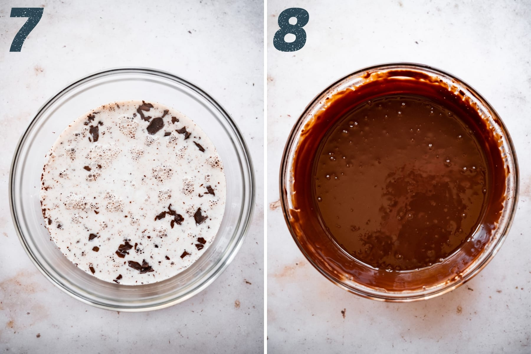 before and after whisking together chocolate ganache.