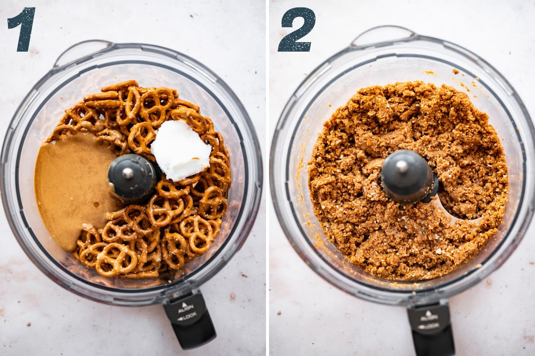 before and after pulsing together ingredients for peanut butter pretzel tart crust.