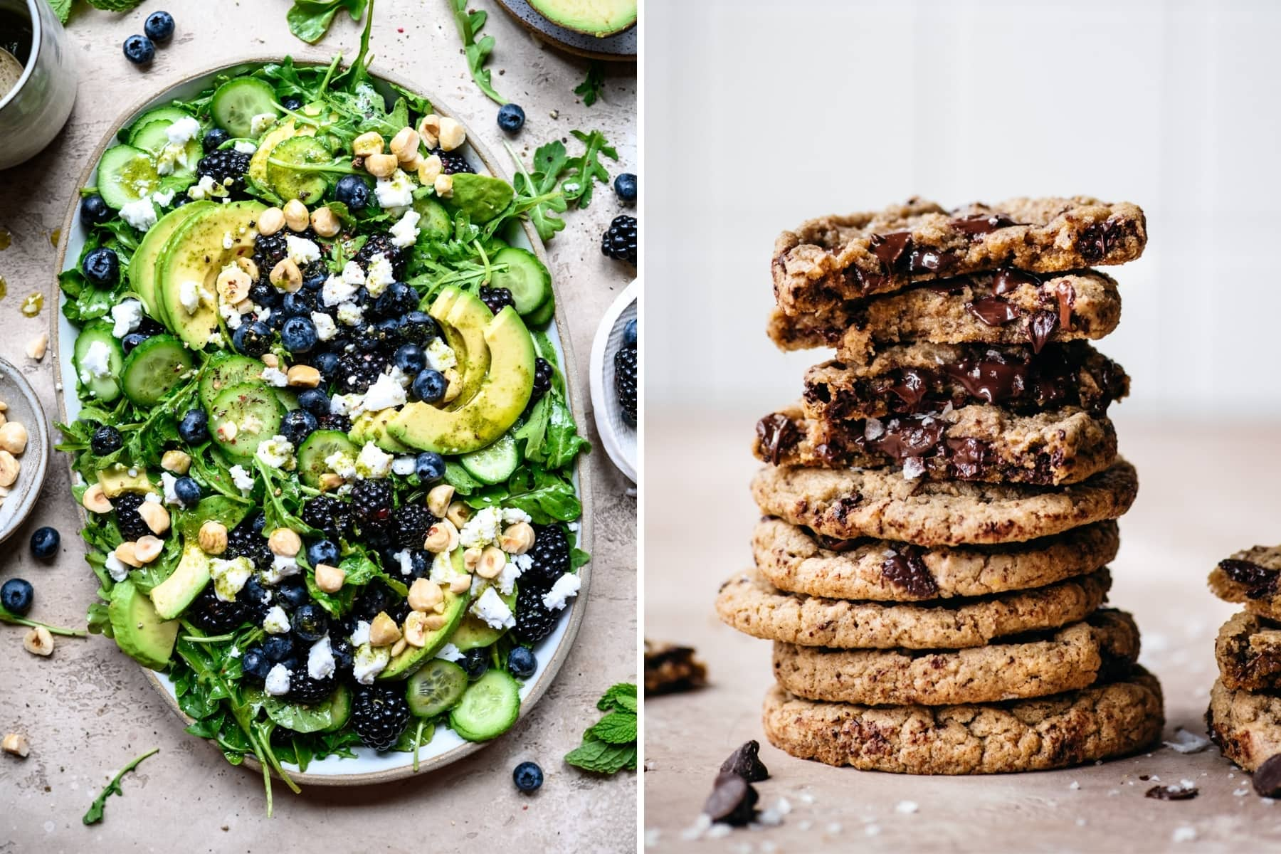 on the left: arugula avocado blackberry salad. On the right: a stack of chocolate chip cookies.