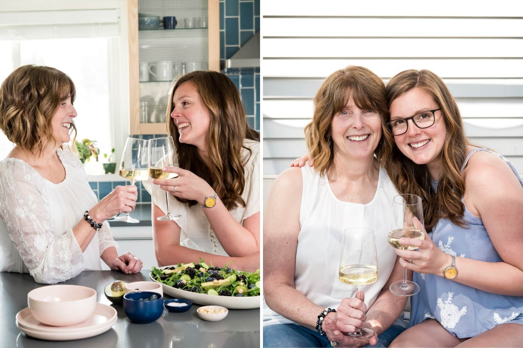 headshots of Lexi and Beth from Crowded Kitchen in the kitchen with wine.