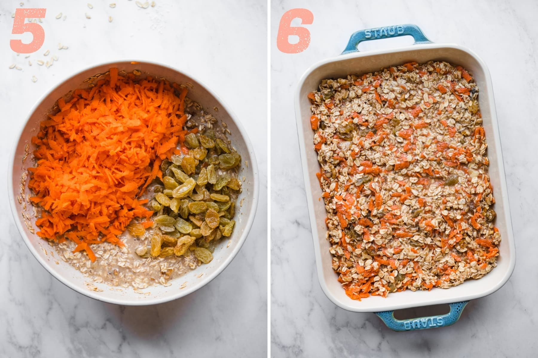 before and after mixing shredded carrots and raisins into carrot cake baked oatmeal batter.