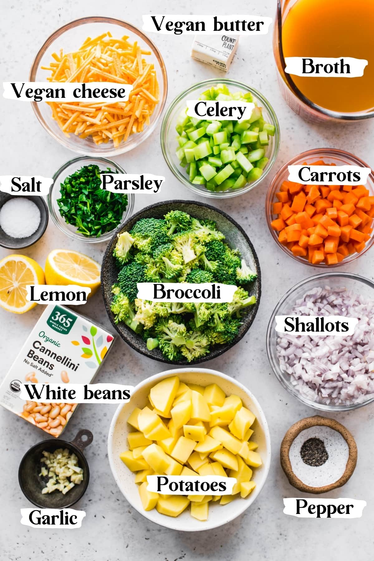 overhead view of ingredients for vegan broccoli soup.