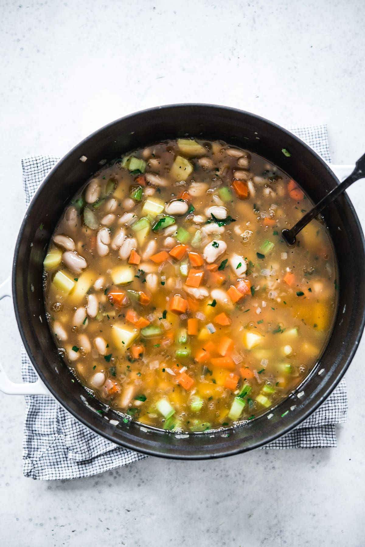 overhead view of soup with white beans and vegetables.
