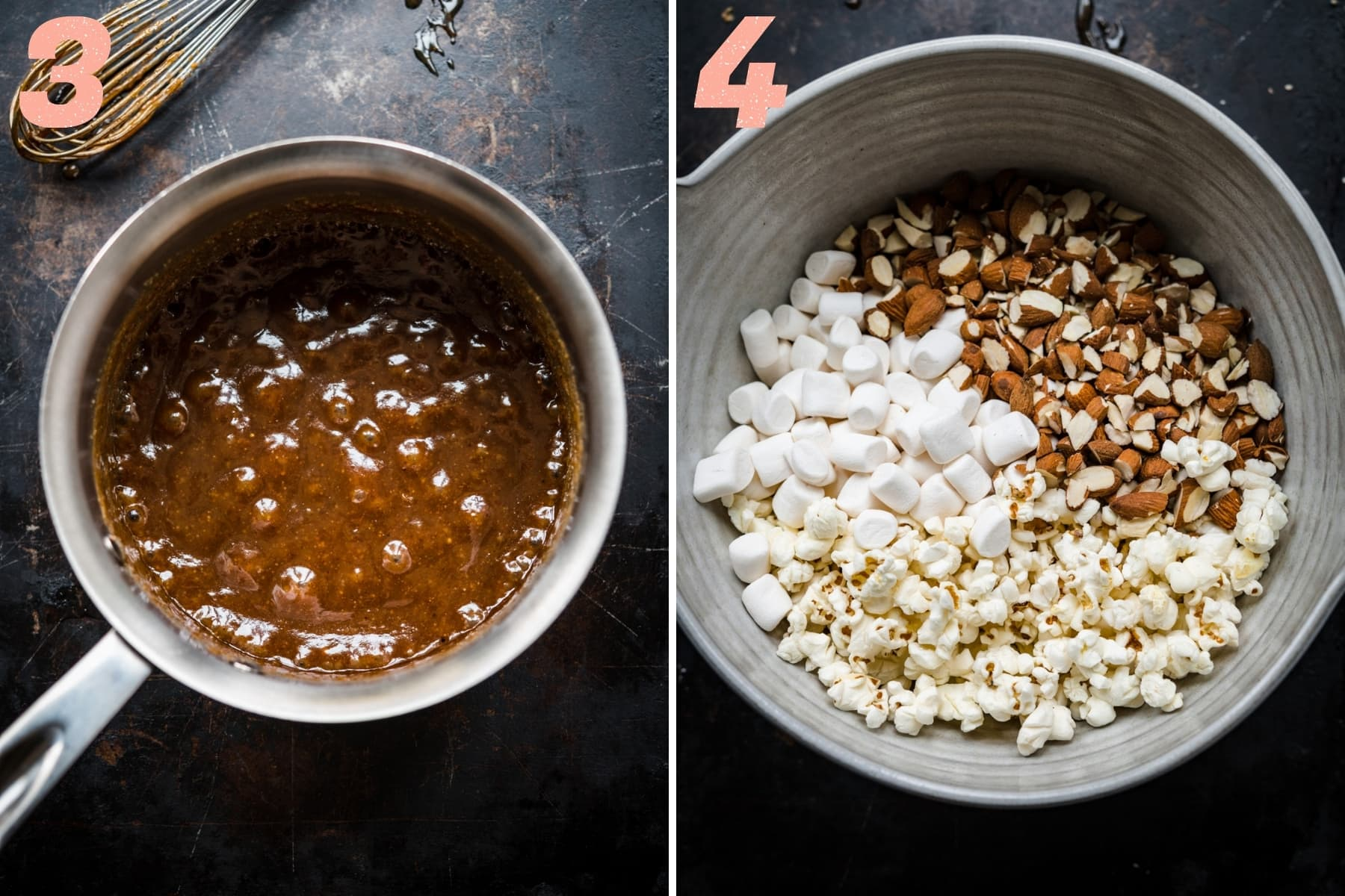 on the left: vegan caramel sauce bubbling in saucepan. on the right: marshmallows, almonds and popcorn in mixing bowl.