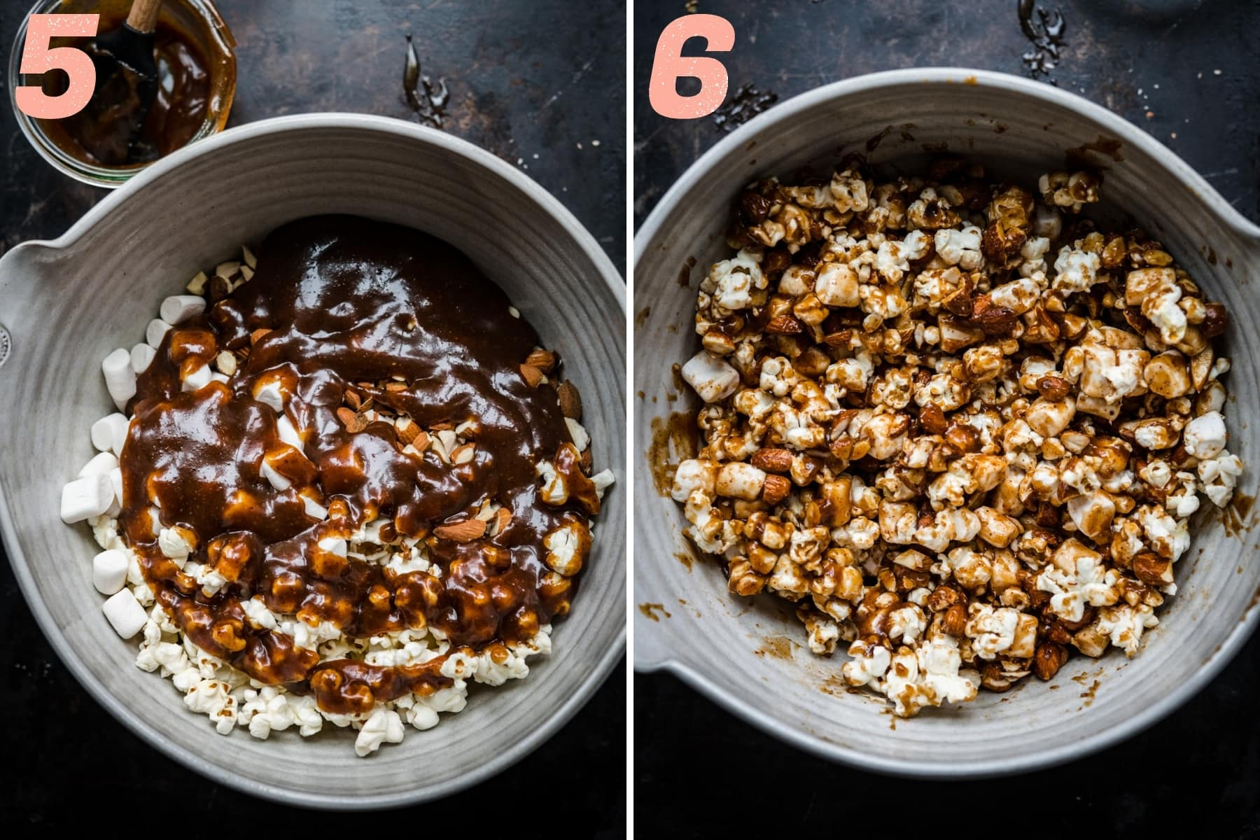 before and after stirring together marshmallows, almonds, popcorn and vegan caramel in bowl.