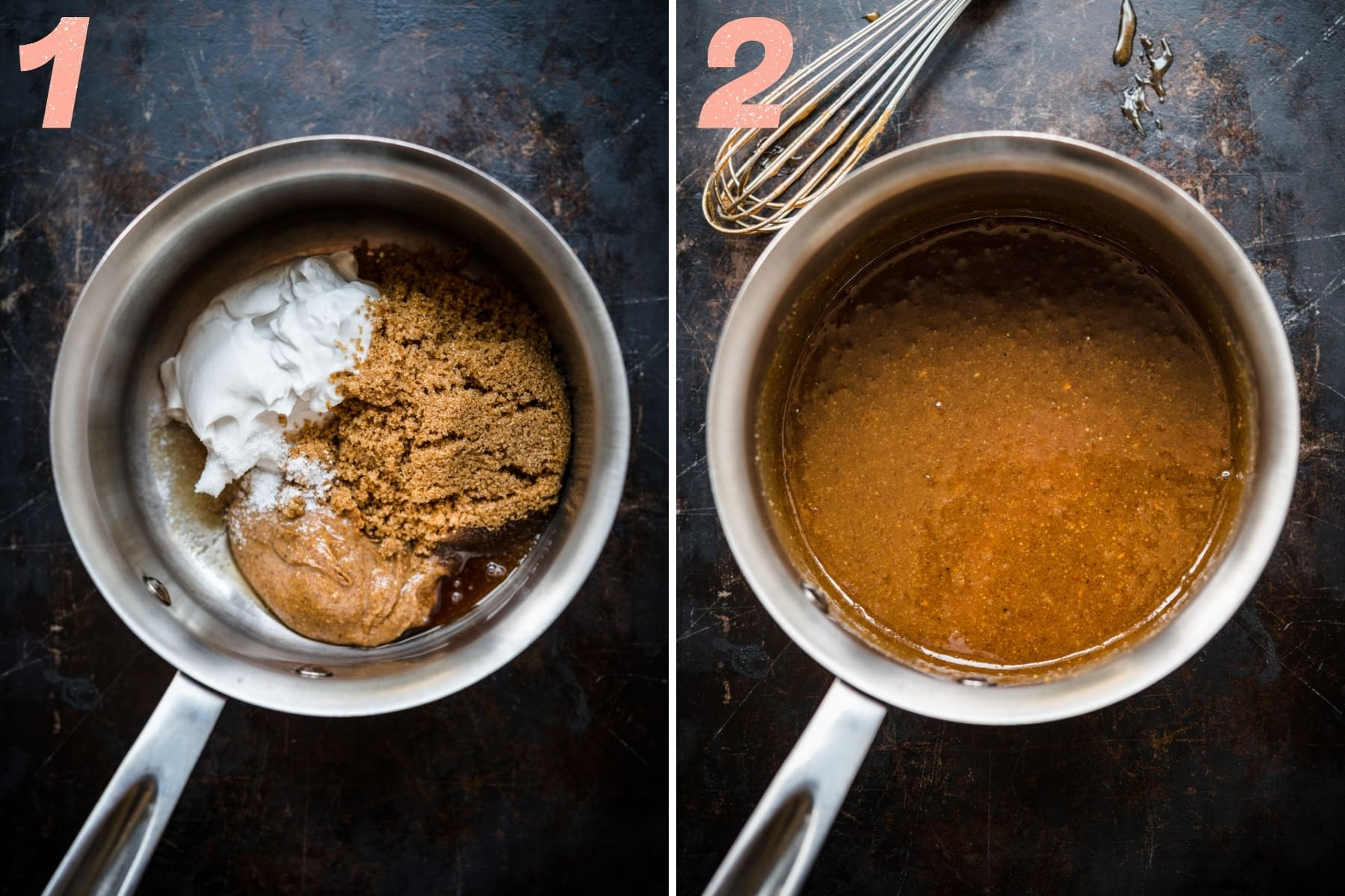 before and after whisking together ingredients for vegan caramel in saucepan.