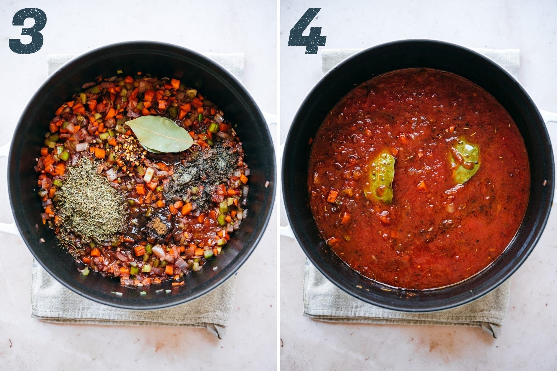 before and after adding crushed tomatoes to lentil bolognese sauce in a large pot.