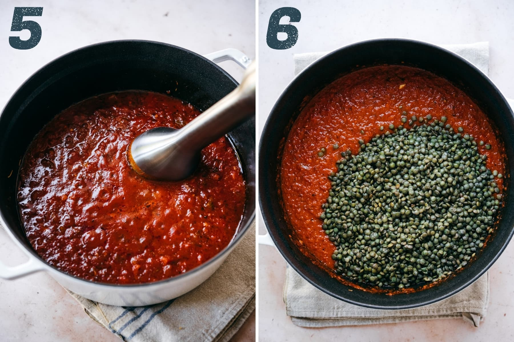 on the left: pureed tomato sauce in a pot. on the right: tomato sauce with cooked lentils before stirring in.