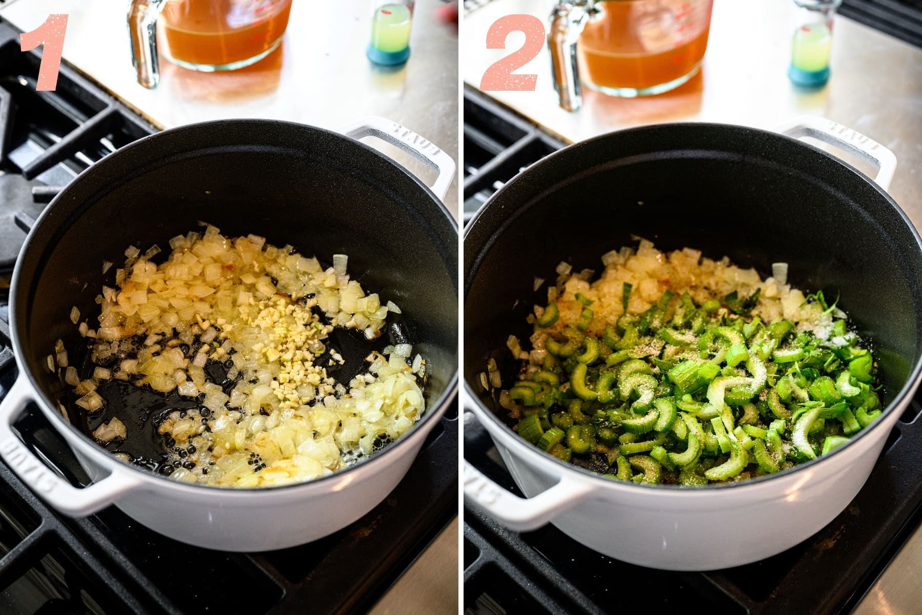 before and after adding celery to sautéed onions and garlic in large pot.