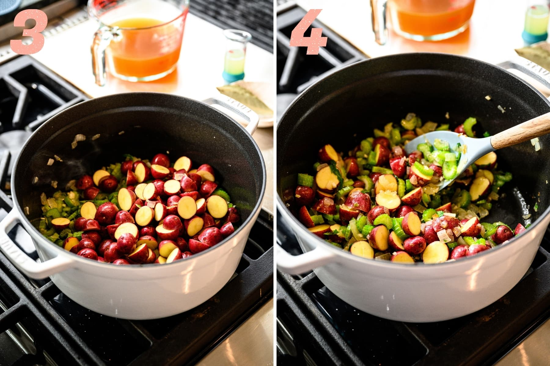 adding in baby potatoes to lima bean soup base in large pot.