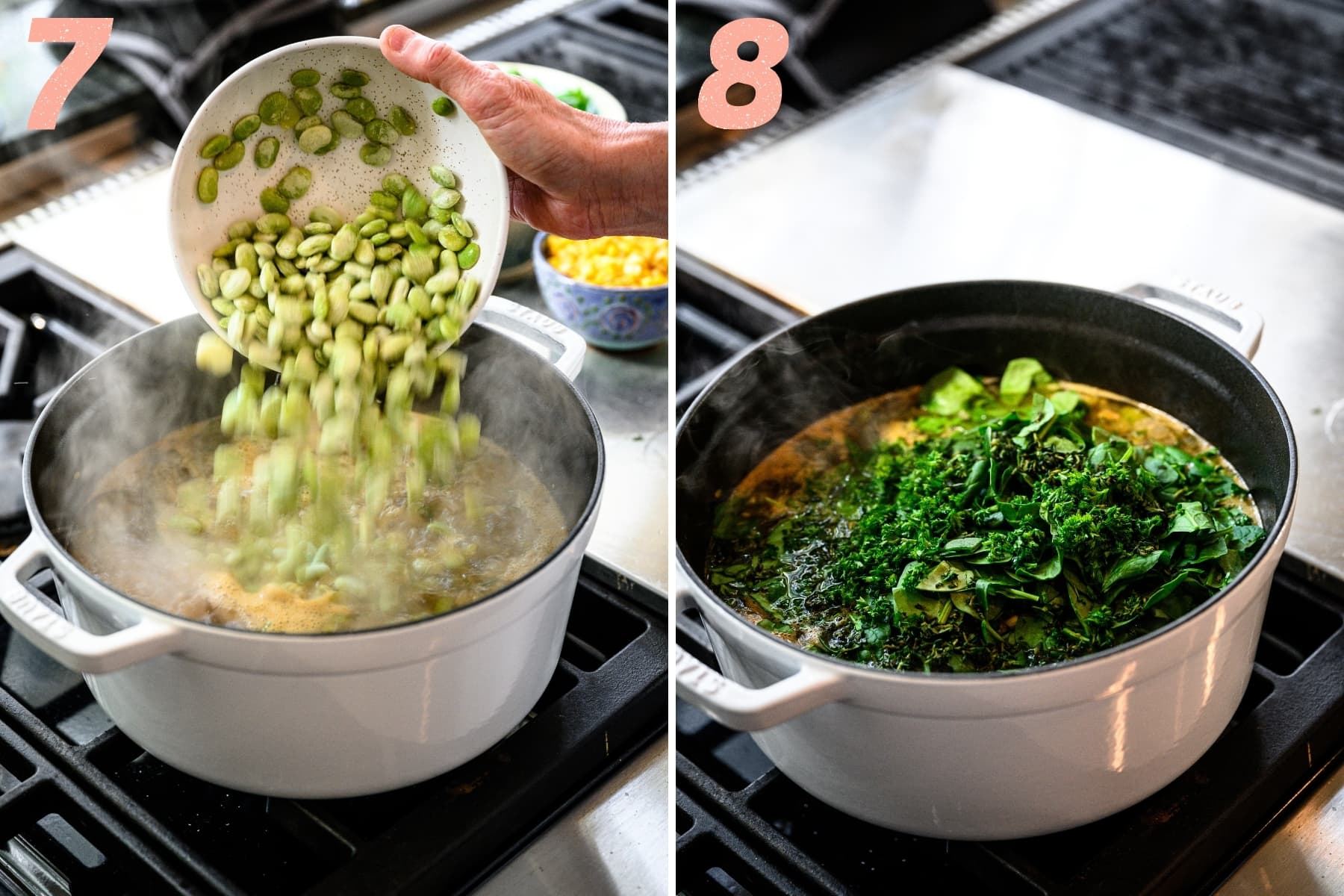 adding in frozen lima beans and chopped spinach and herbs to lima bean soup on stovetop.