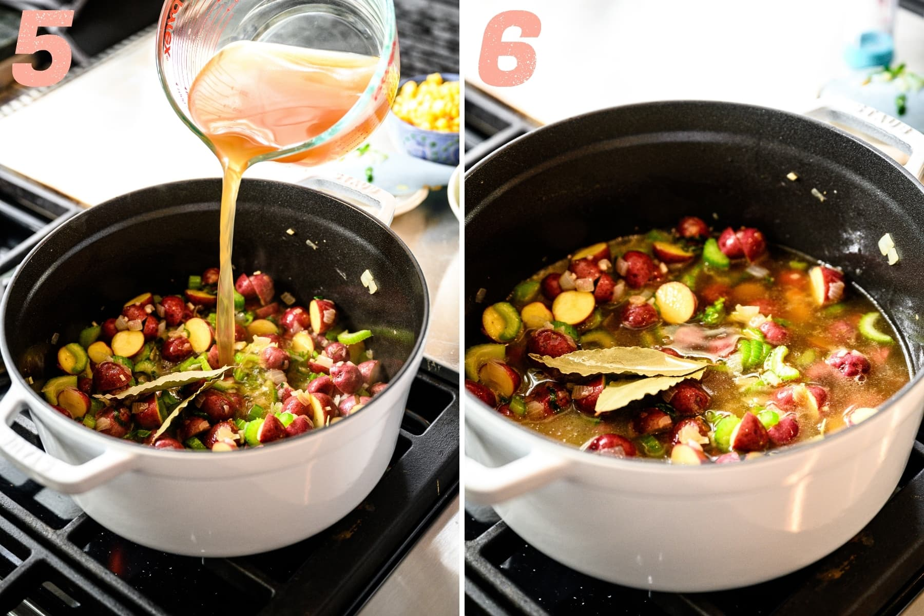 pouring vegetable broth and adding bay leaves to lima bean soup on stovetop.