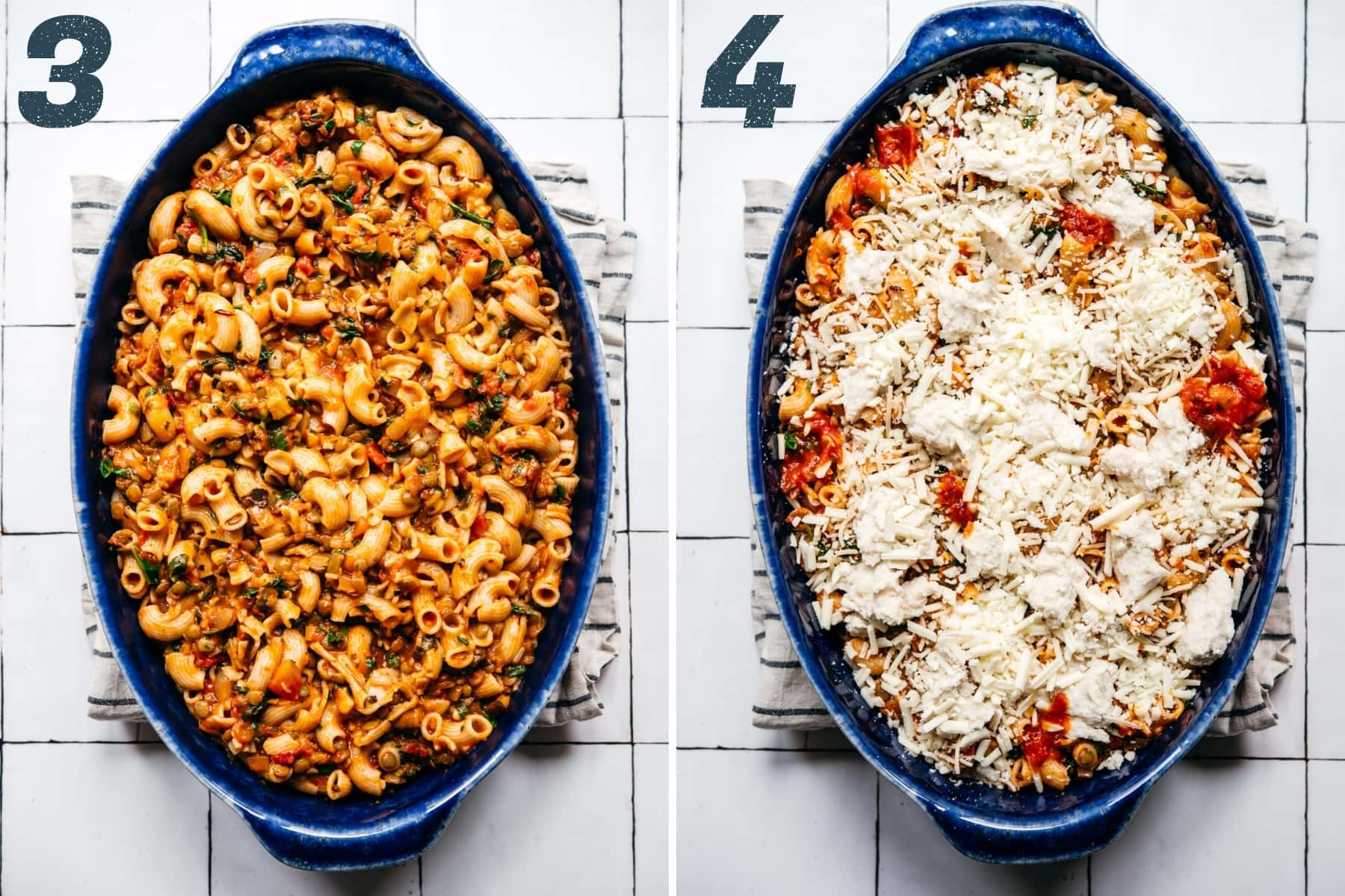 before and after topping vegan pasta bake with cheese before baking.