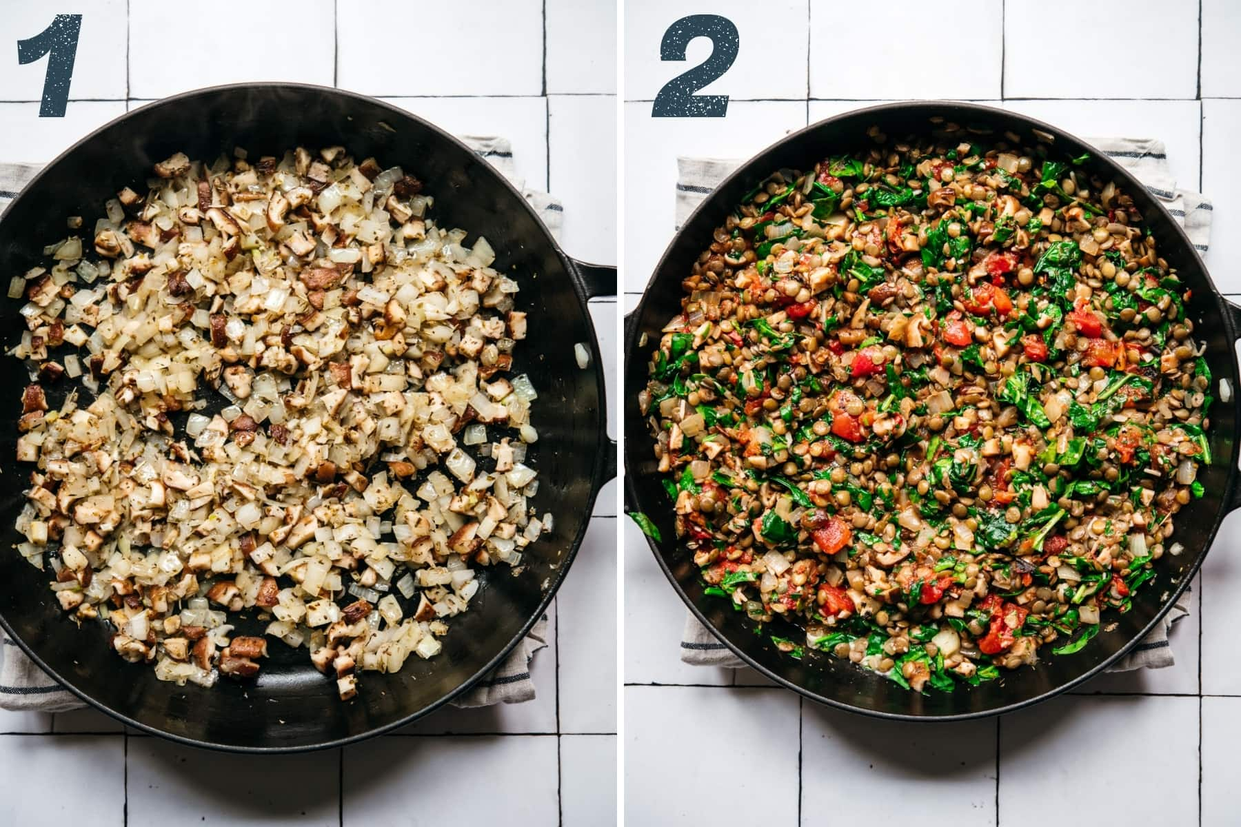 on the left: sautéed onions, garlic and mushrooms in pan. on the right: sautéed vegetables, lentils and spinach in pan.