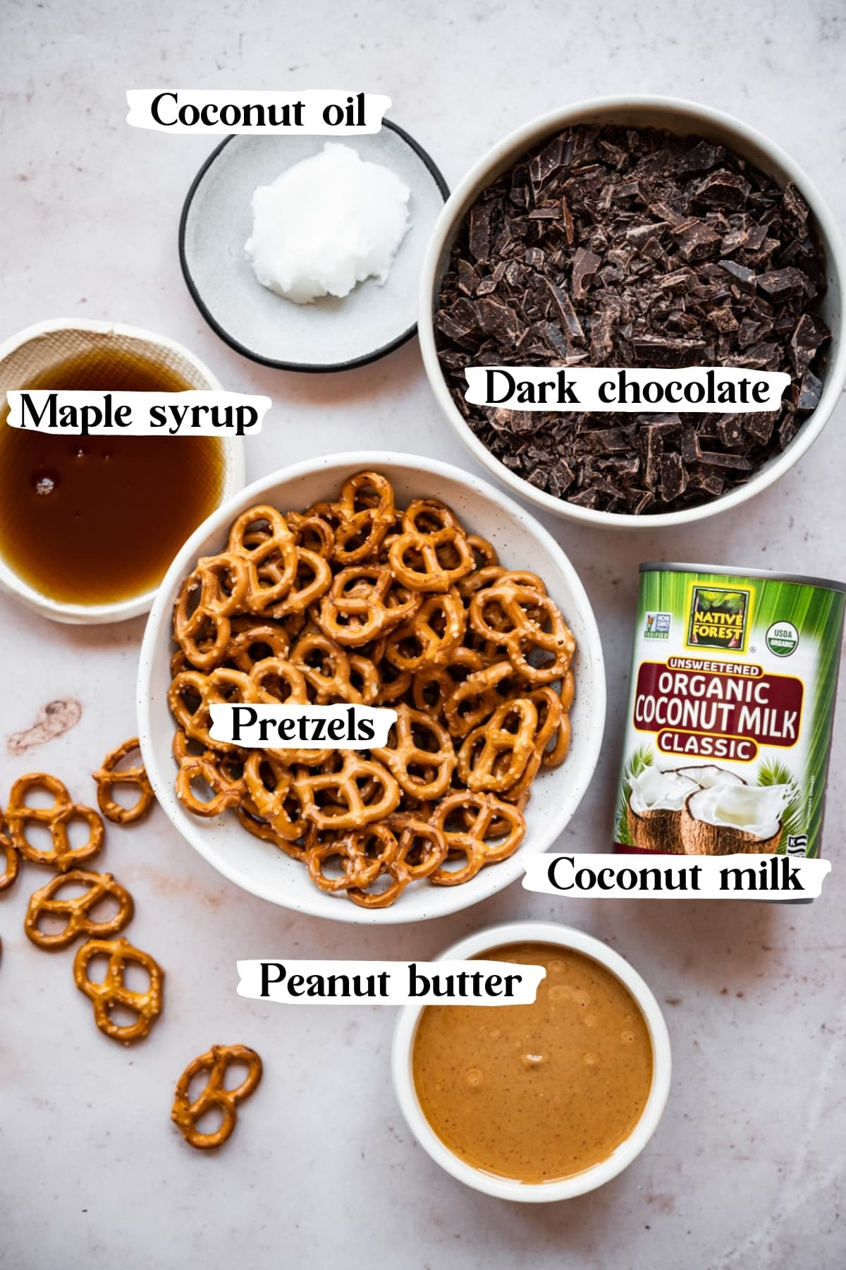 overhead view of ingredients for vegan chocolate peanut butter pretzel tart.