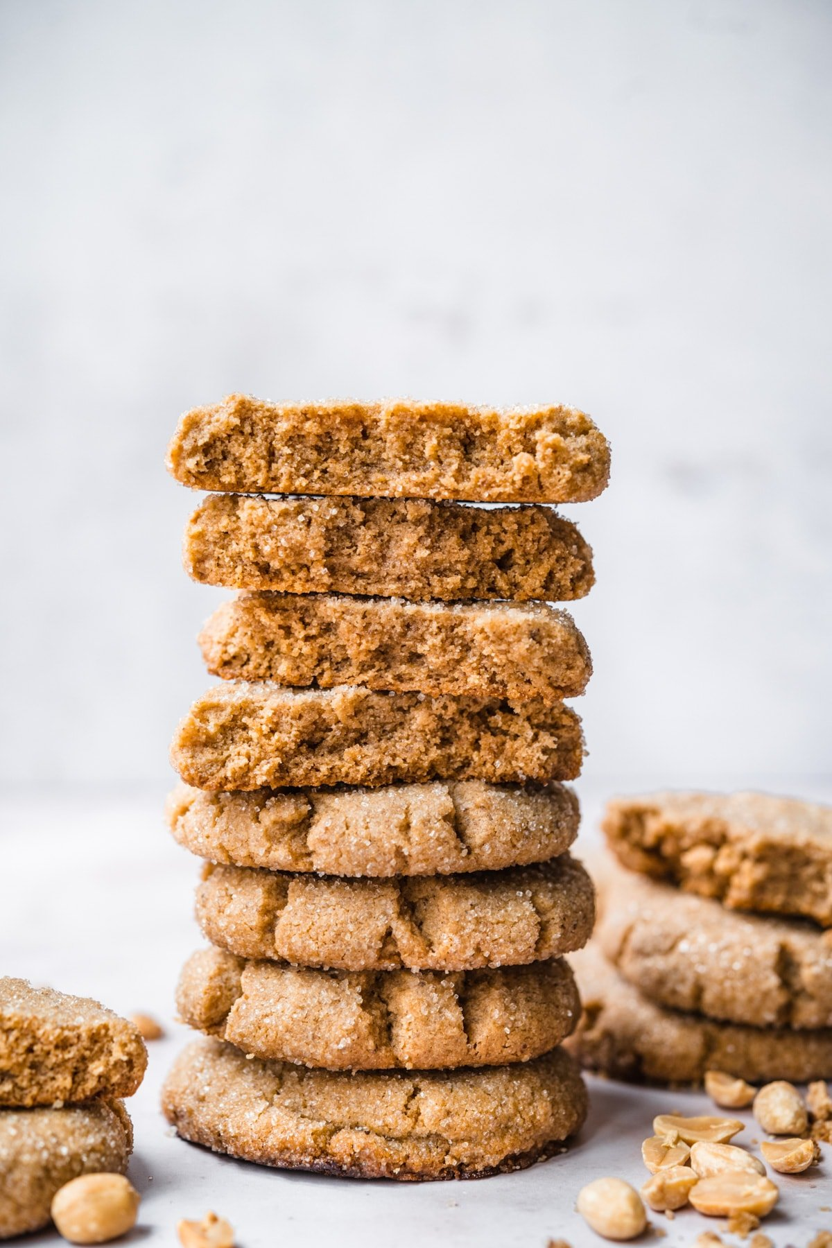 side view of tall stack of vegan peanut butter cookies.