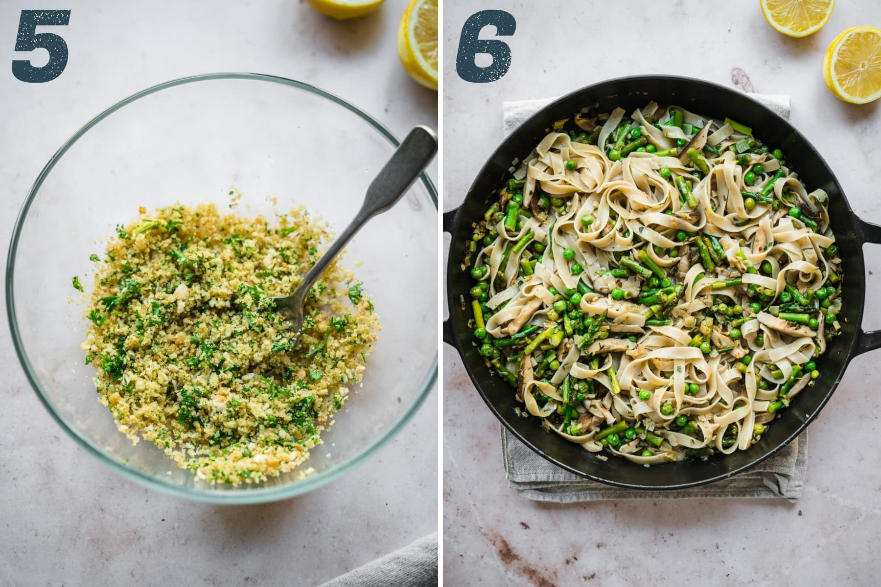 on the left: breadcrumbs in a small mixing bowl. On the right: spring vegetable pasta in a cast iron skillet.