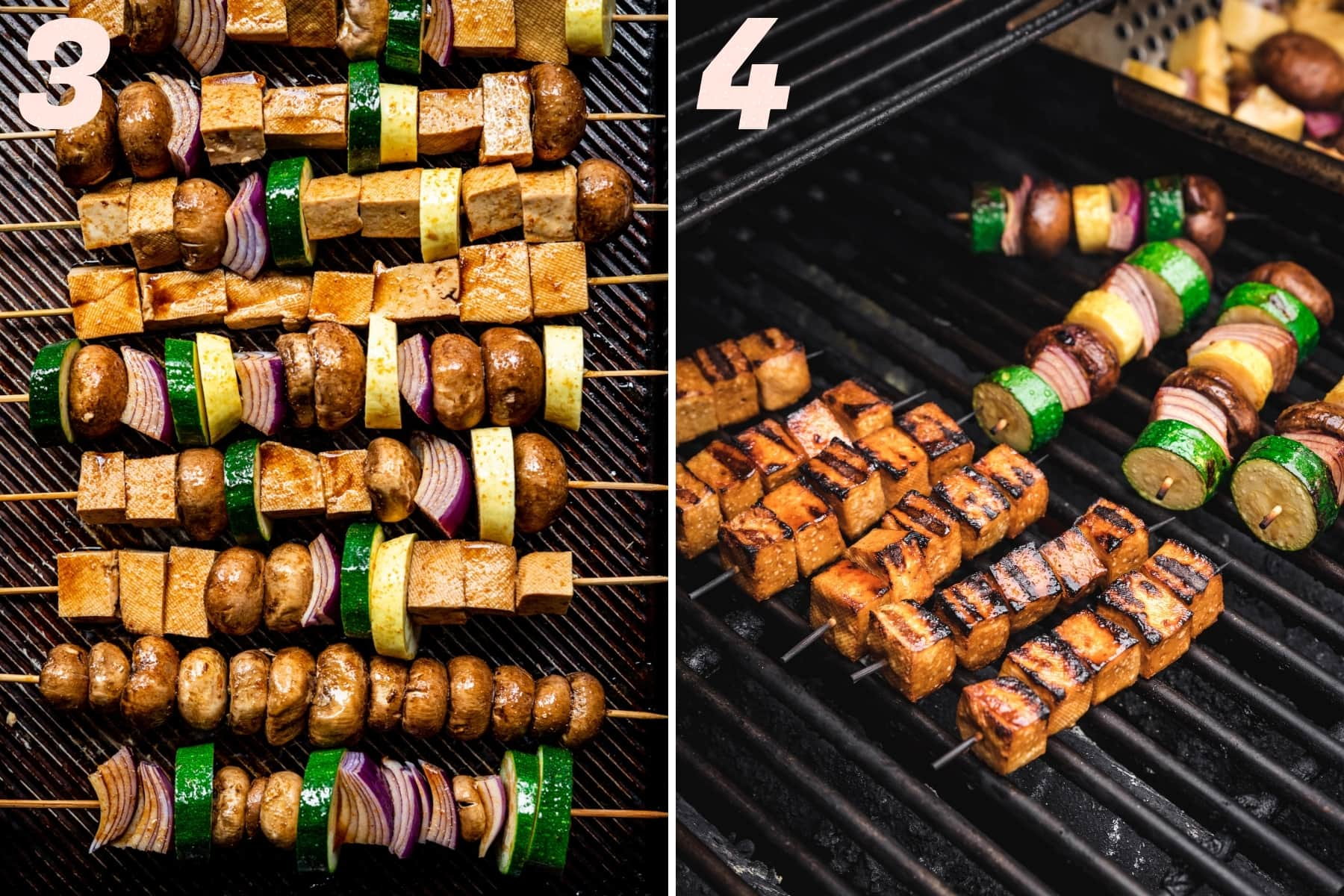 before and after grilled tofu vegetable kebabs.