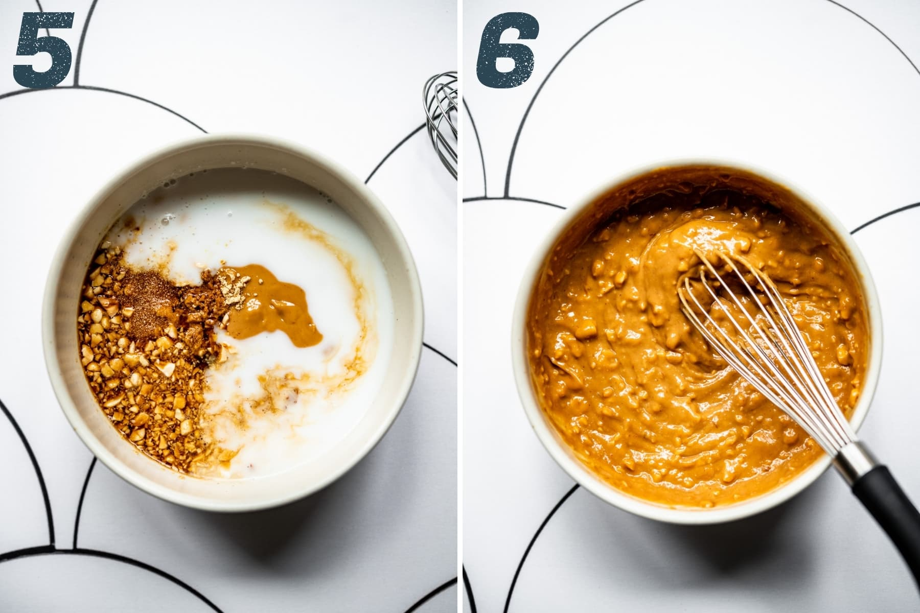 before and after whisking together ingredients for peanut sauce.