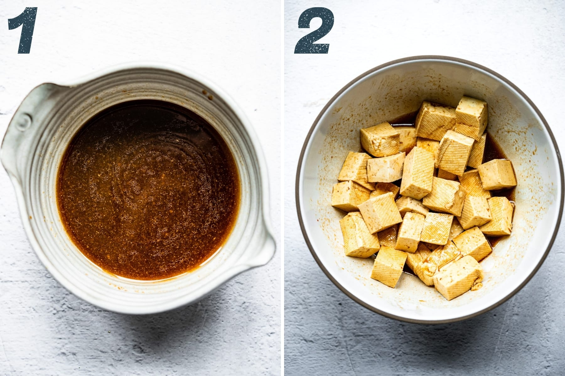 on the left: marinade for tofu in a bowl. on the right: cubed tofu tossed in marinade in a bowl.