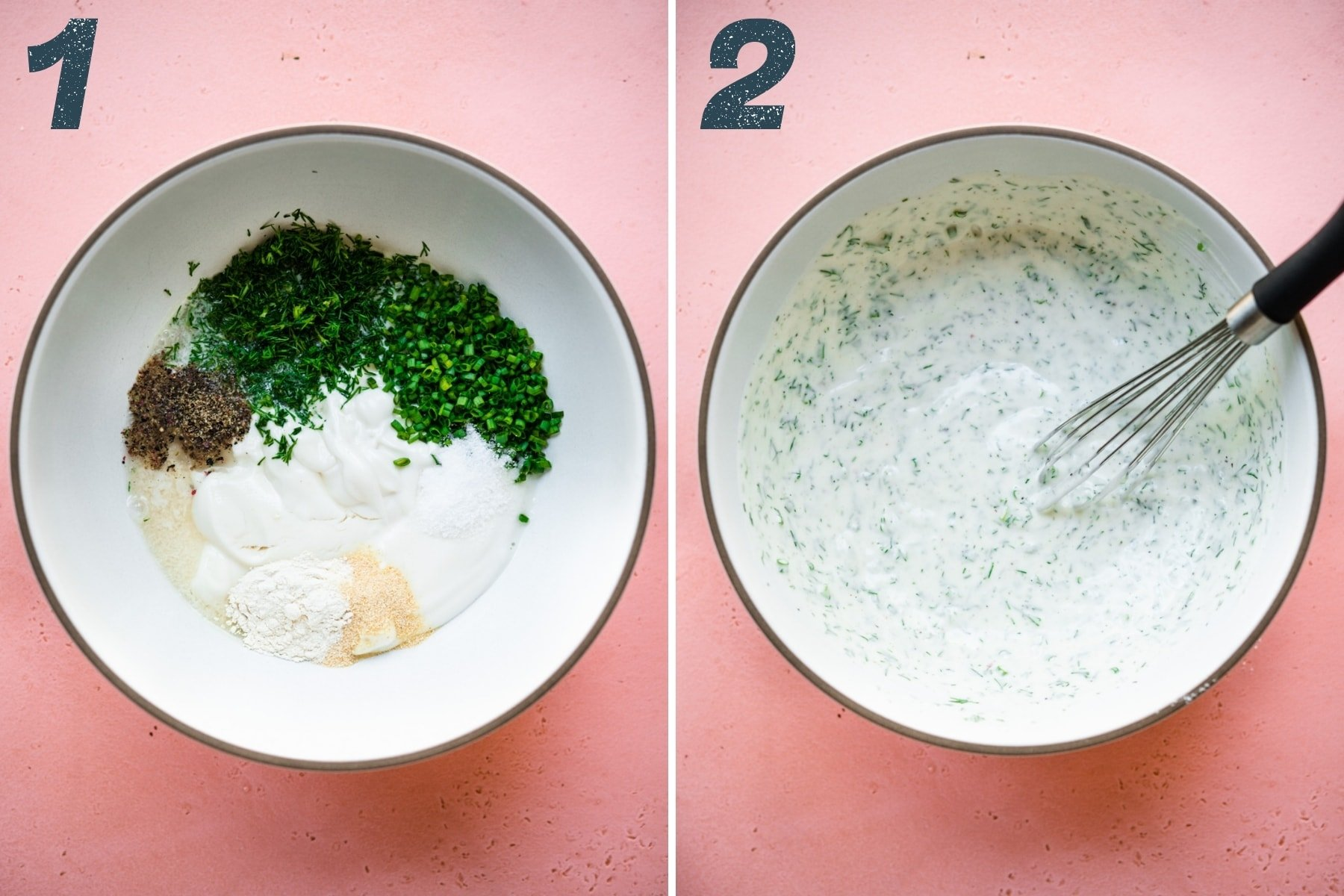 before and after whisking together ingredients for vegan ranch dip in mixing bowl.