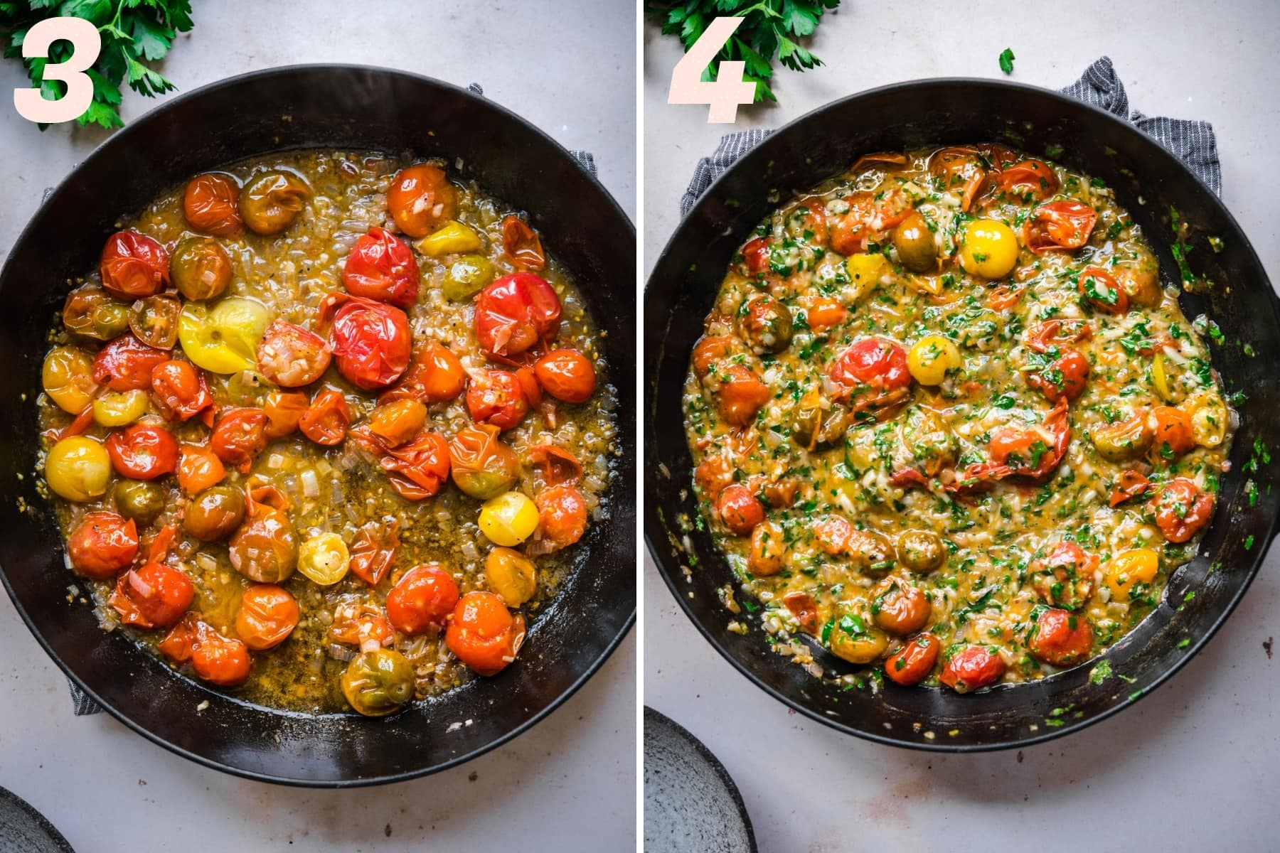 before and after adding cheese and herbs to burst cherry tomato pasta sauce.