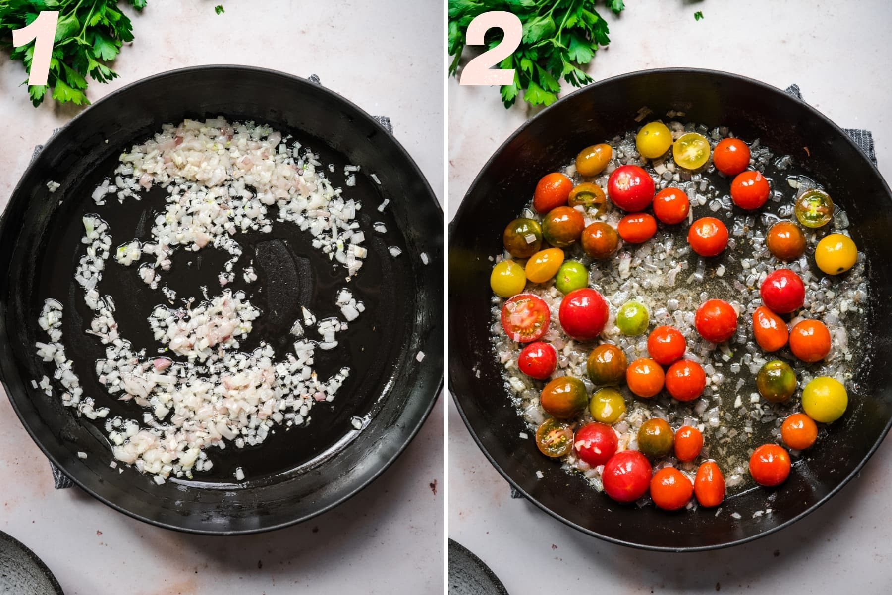 before and after adding whole cherry tomatoes to sautéed garlic and shallots in skillet.