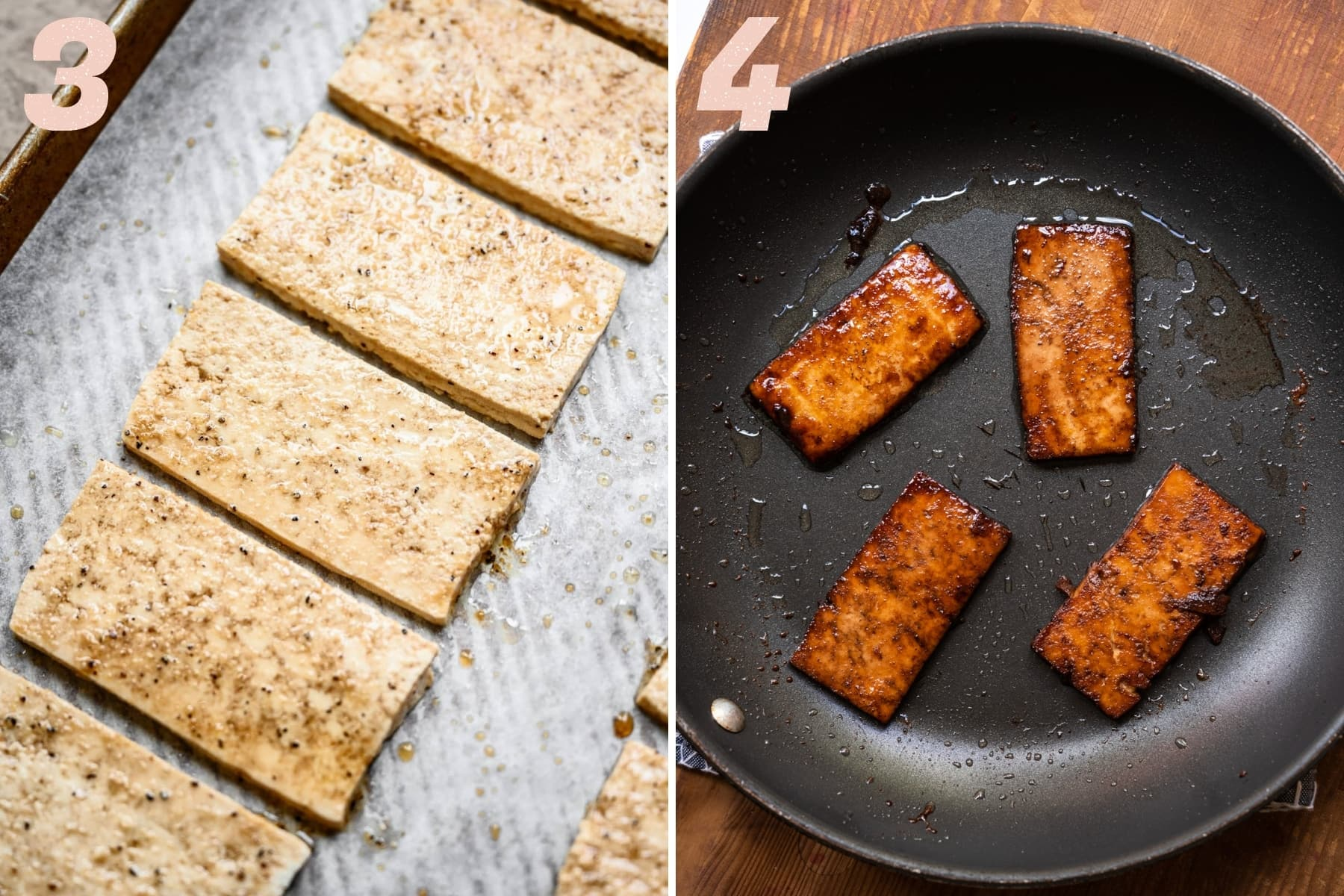 tofu bacon before and after browning in a skillet.
