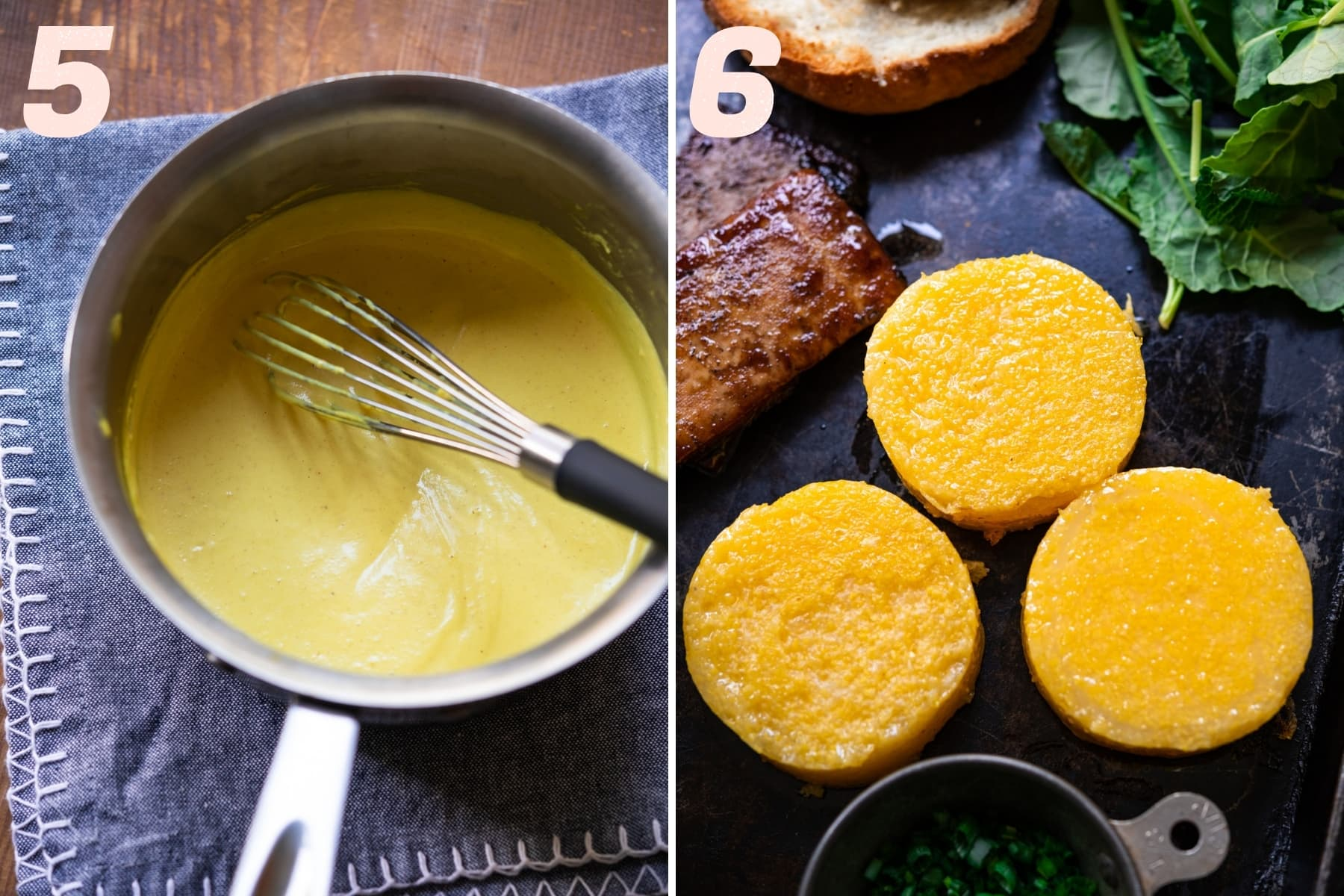 on the left: vegan hollandaise sauce in a pot. on the right: sautéed polenta rounds.