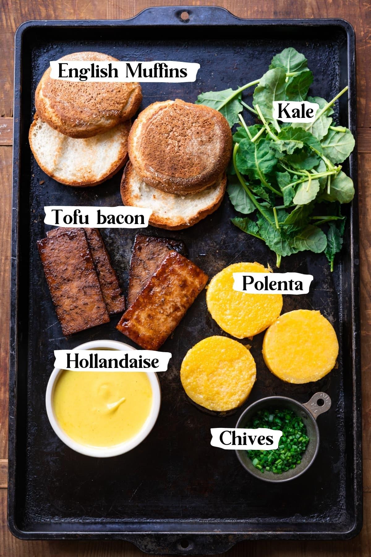 overhead view of ingredients for vegan eggs benedict.