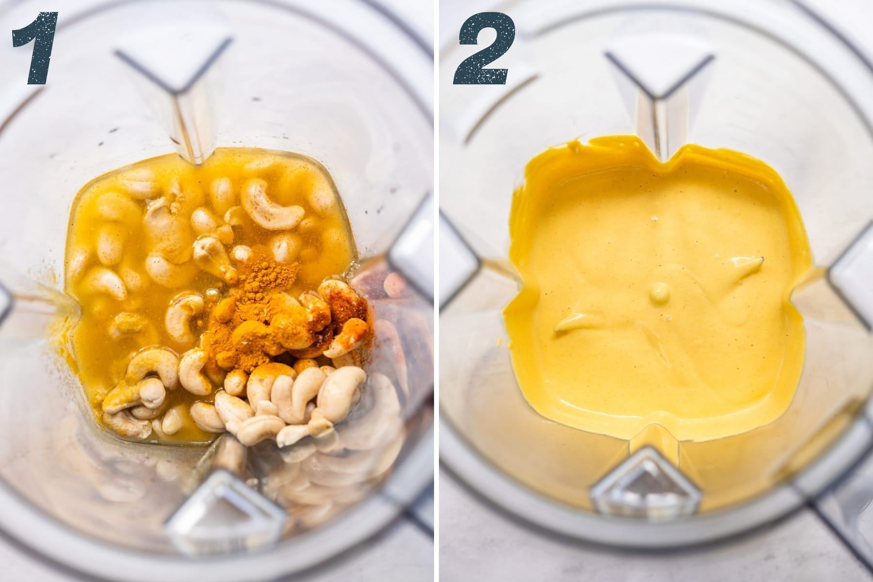 before and after blending ingredients for vegan hollandaise sauce.